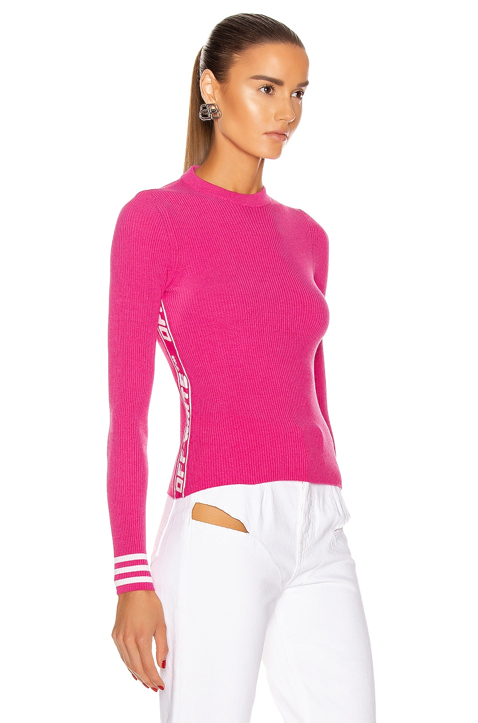 Image 2 of OFF-WHITE Knit Industrial Long Sleeve Top in Fuchsia
