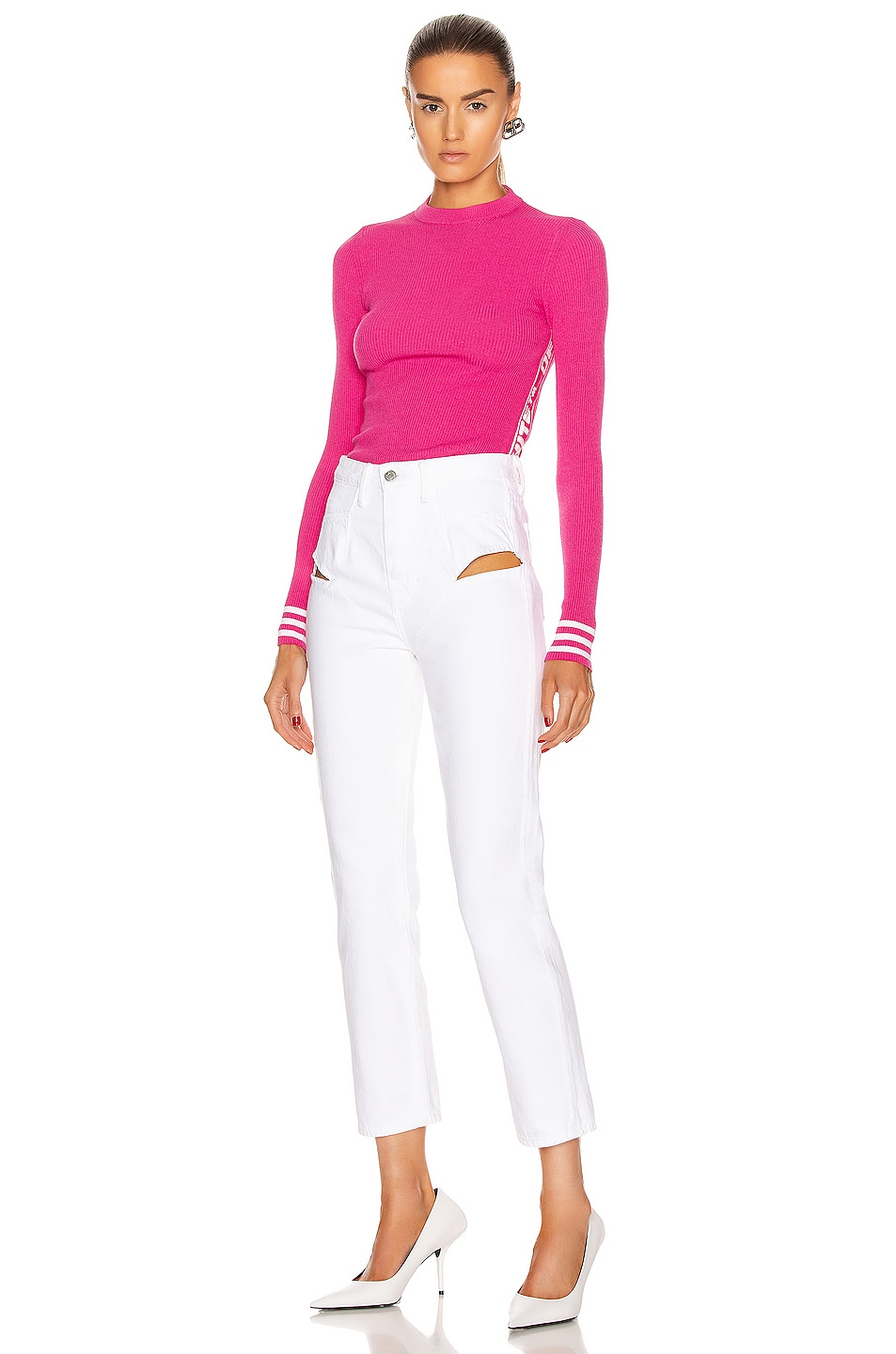 Image 5 of OFF-WHITE Knit Industrial Long Sleeve Top in Fuchsia