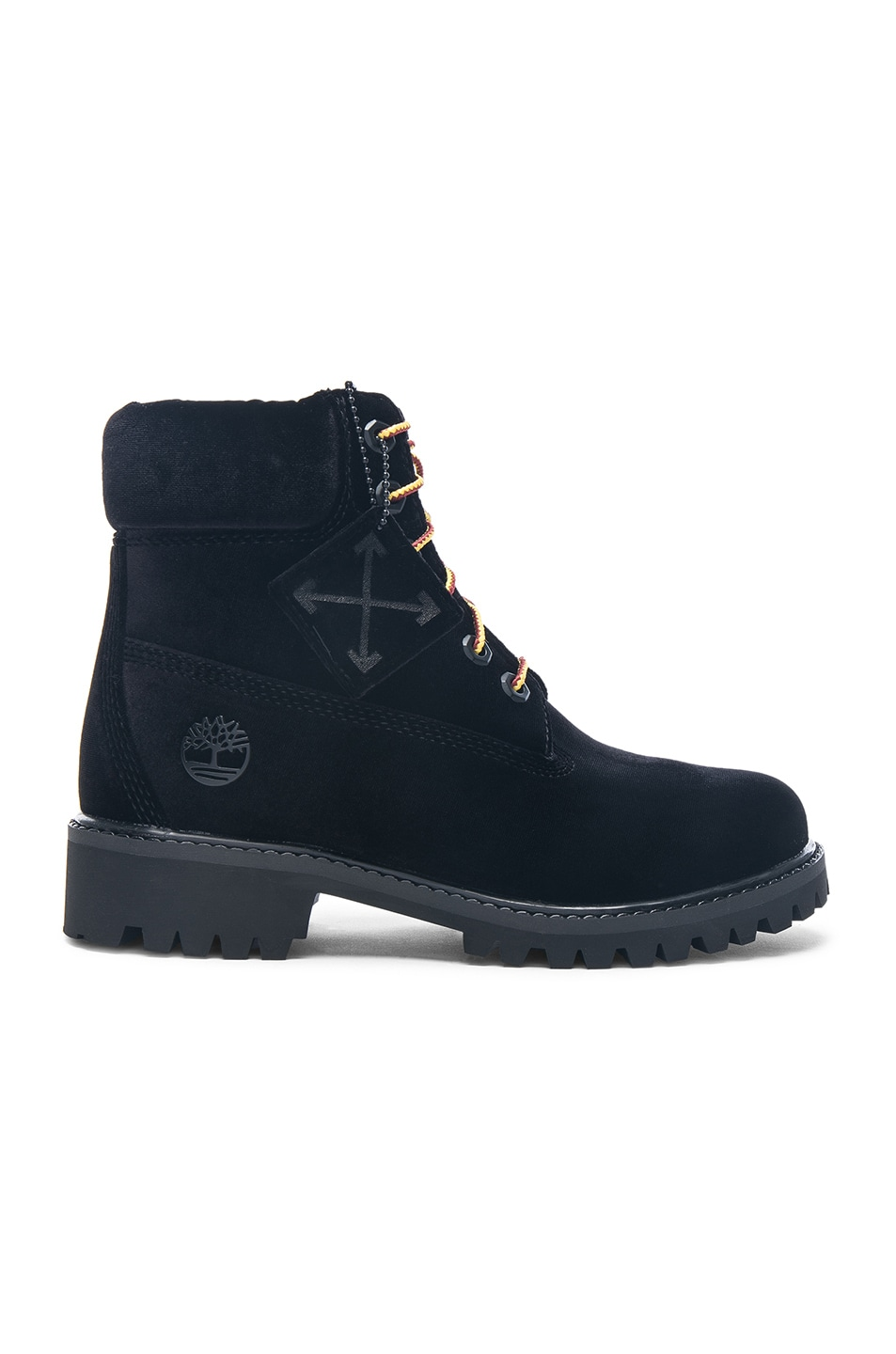 Image 1 of OFF-WHITE x Timberland Velvet Hiking Boots in Black