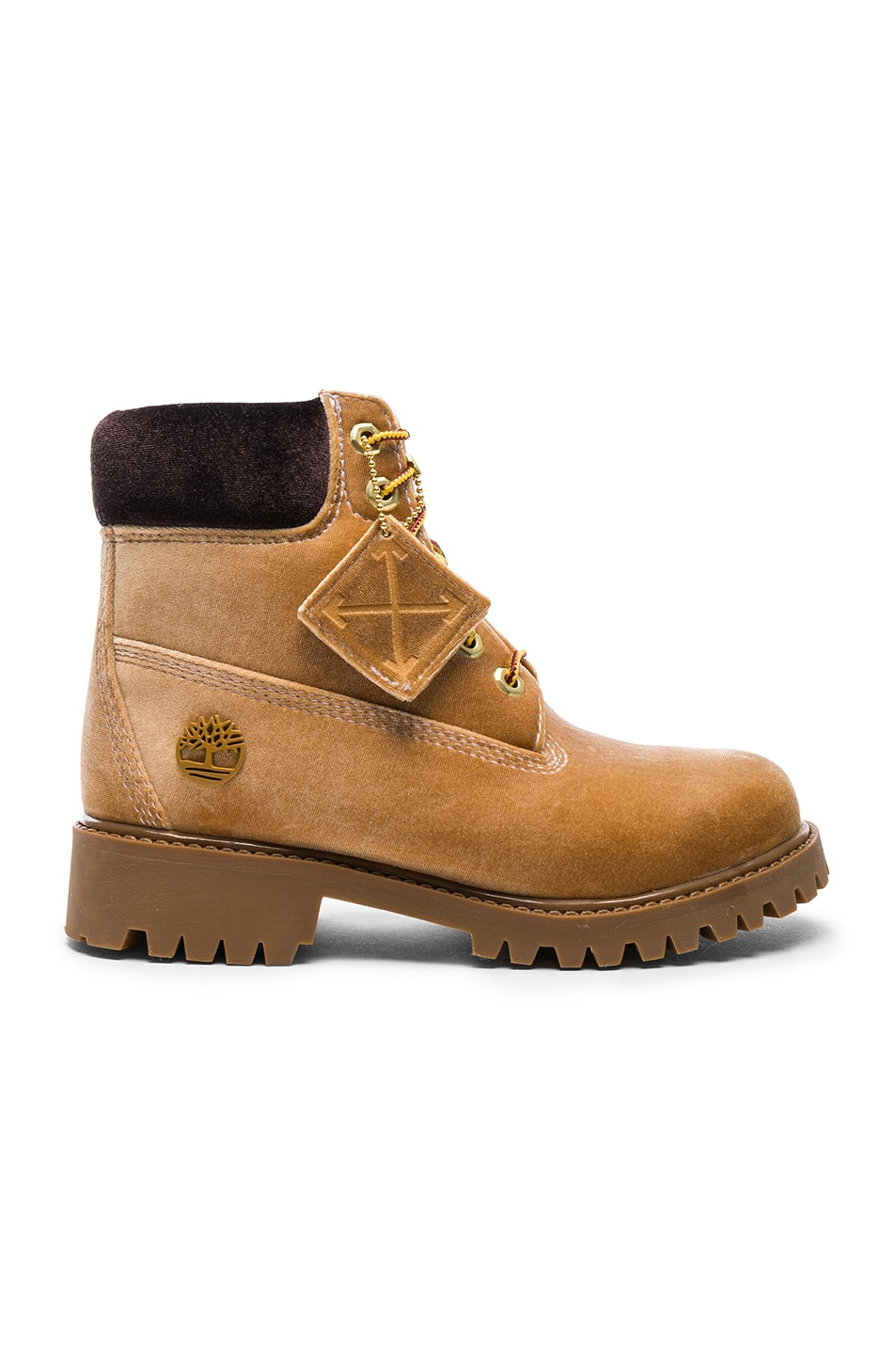 Image 1 of OFF-WHITE x Timberland Velvet Hiking Boots in Camel