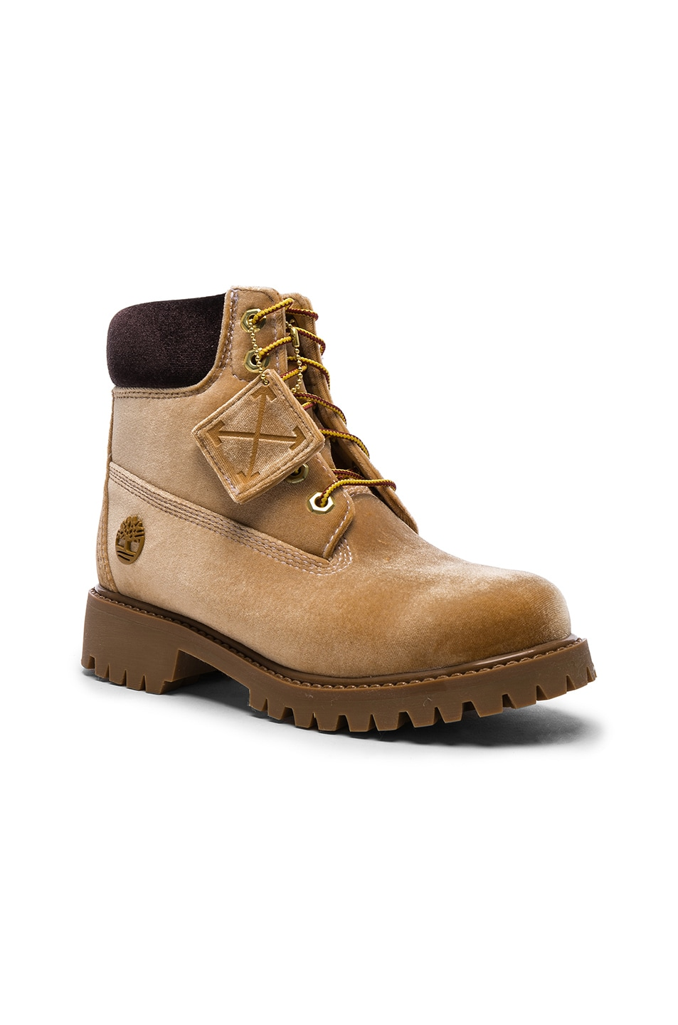 Image 2 of OFF-WHITE x Timberland Velvet Hiking Boots in Camel