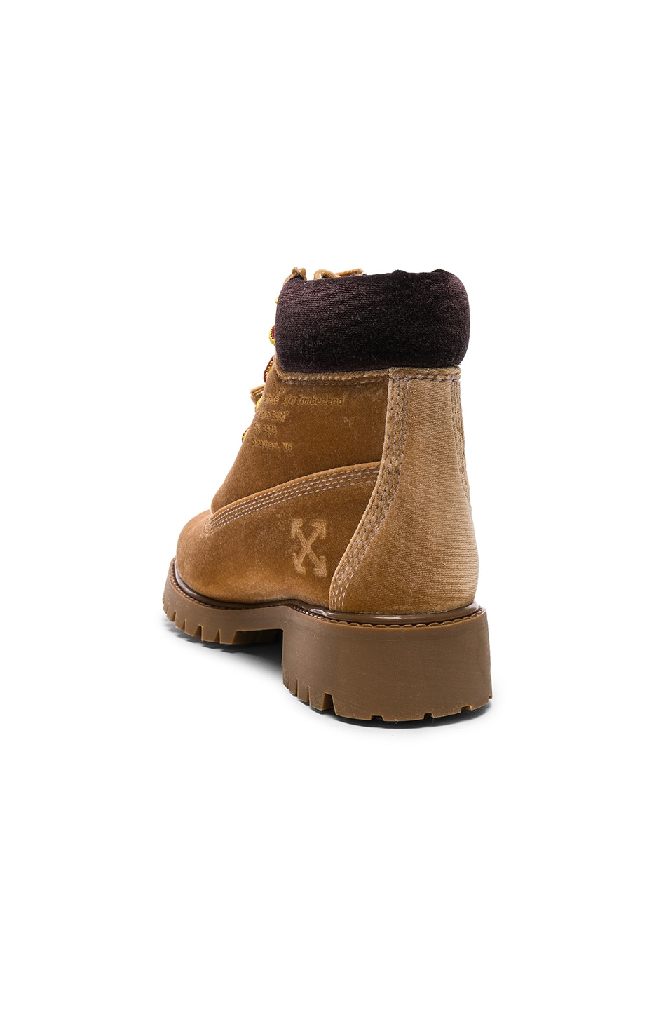 Image 3 of OFF-WHITE x Timberland Velvet Hiking Boots in Camel