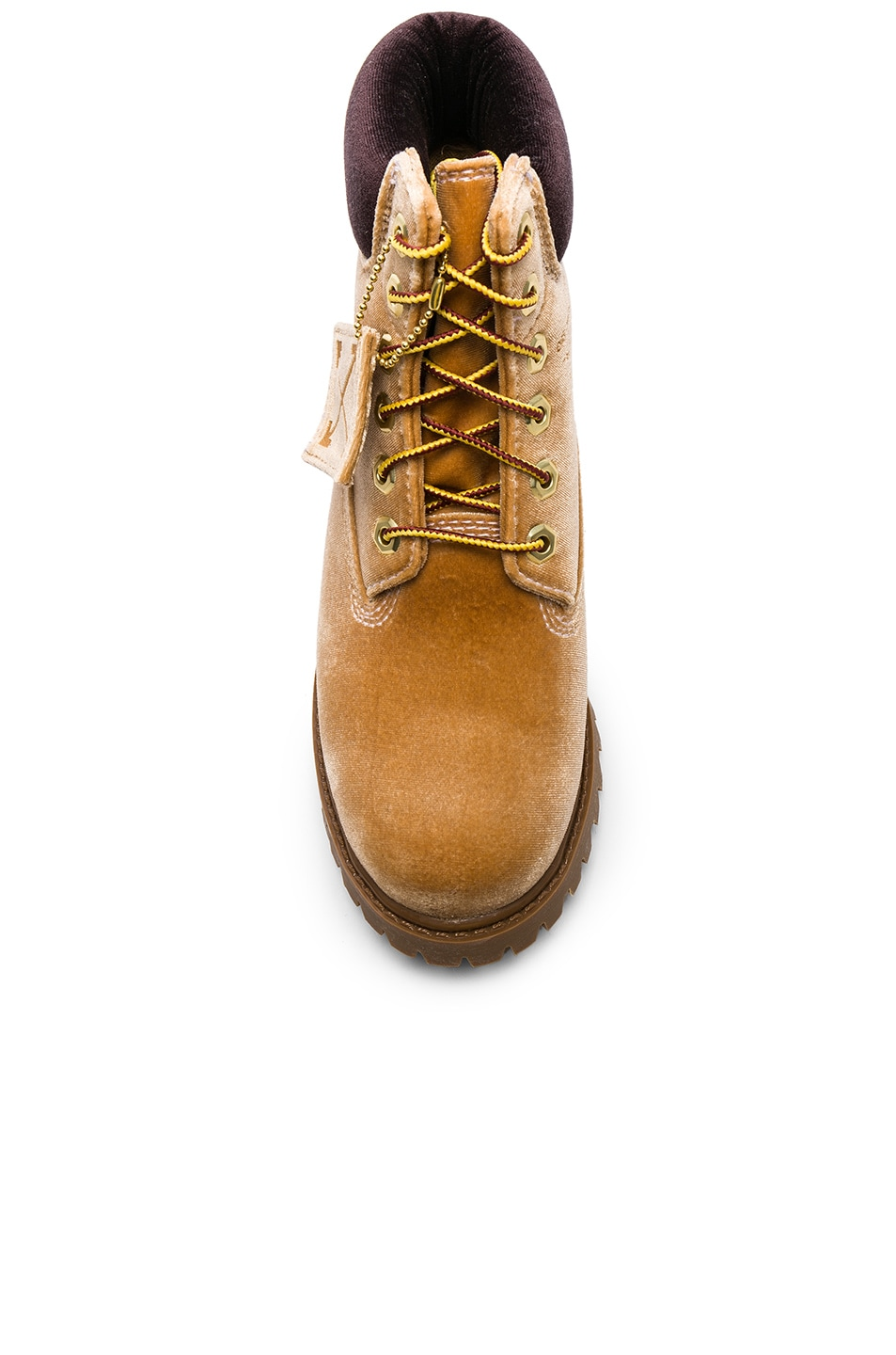 Image 4 of OFF-WHITE x Timberland Velvet Hiking Boots in Camel