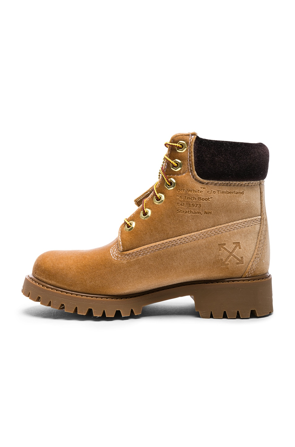 Image 5 of OFF-WHITE x Timberland Velvet Hiking Boots in Camel