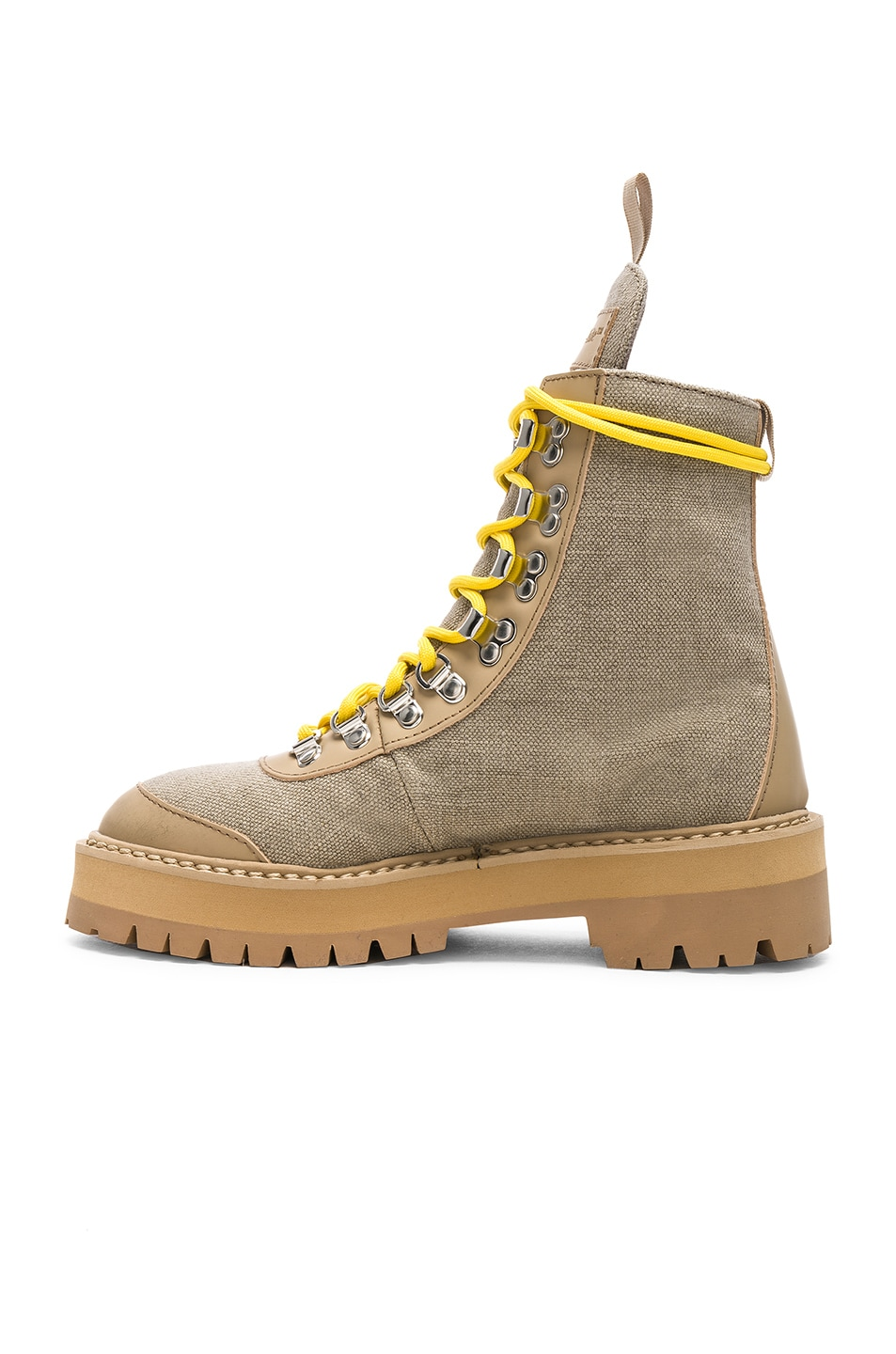 402ccde42e1 OFF-WHITE Canvas Hiking Boots in Sand | FWRD