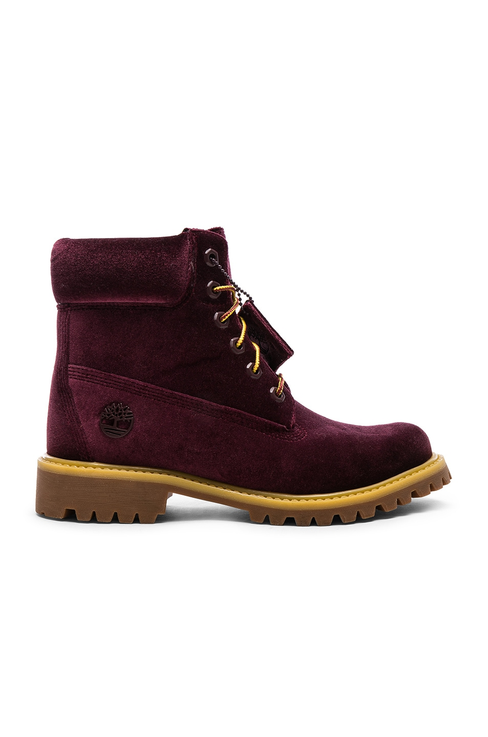 Image 1 of OFF-WHITE Timberland Velvet Hiking Boots in Bordeaux