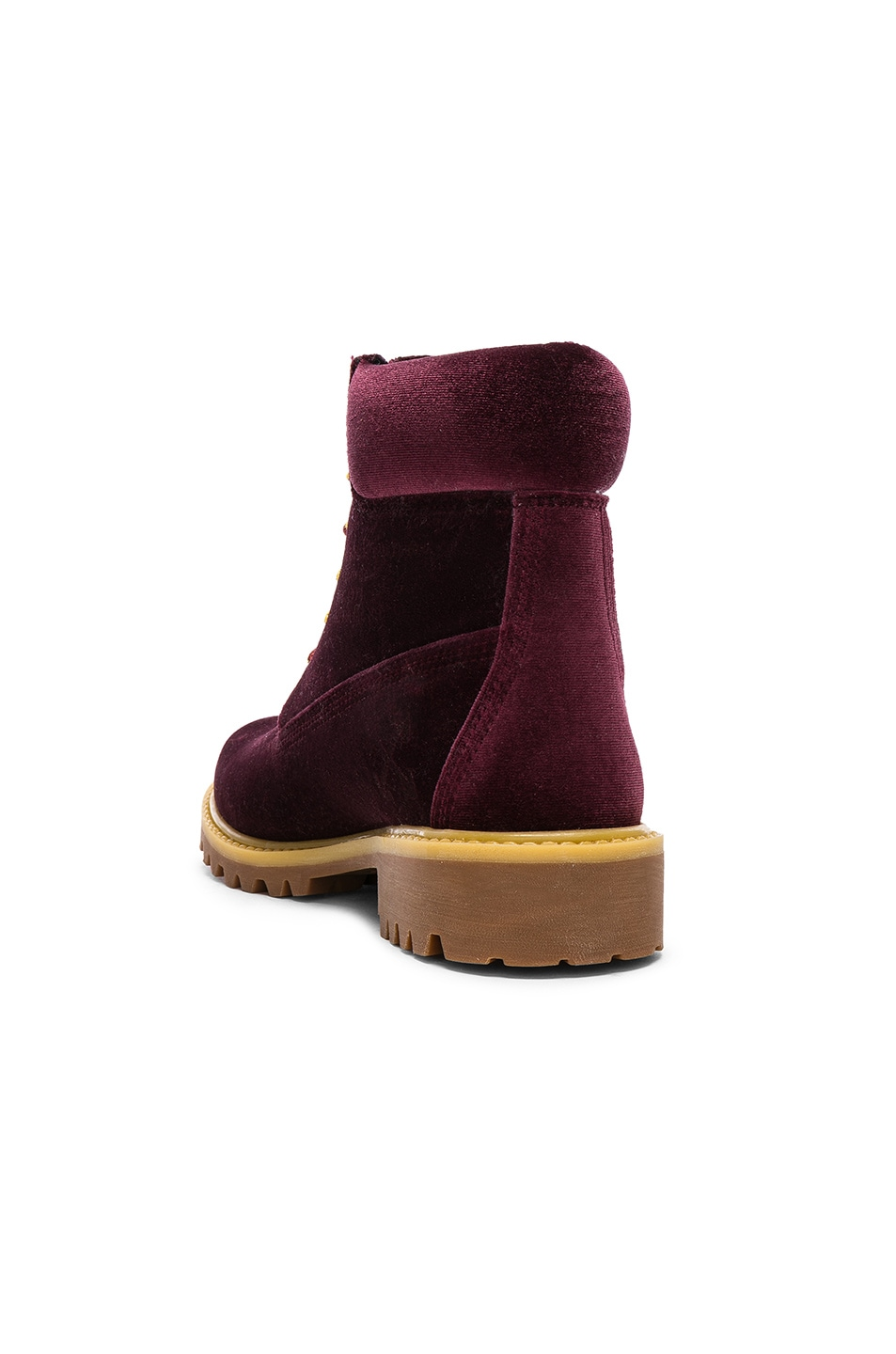 Image 3 of OFF-WHITE Timberland Velvet Hiking Boots in Bordeaux