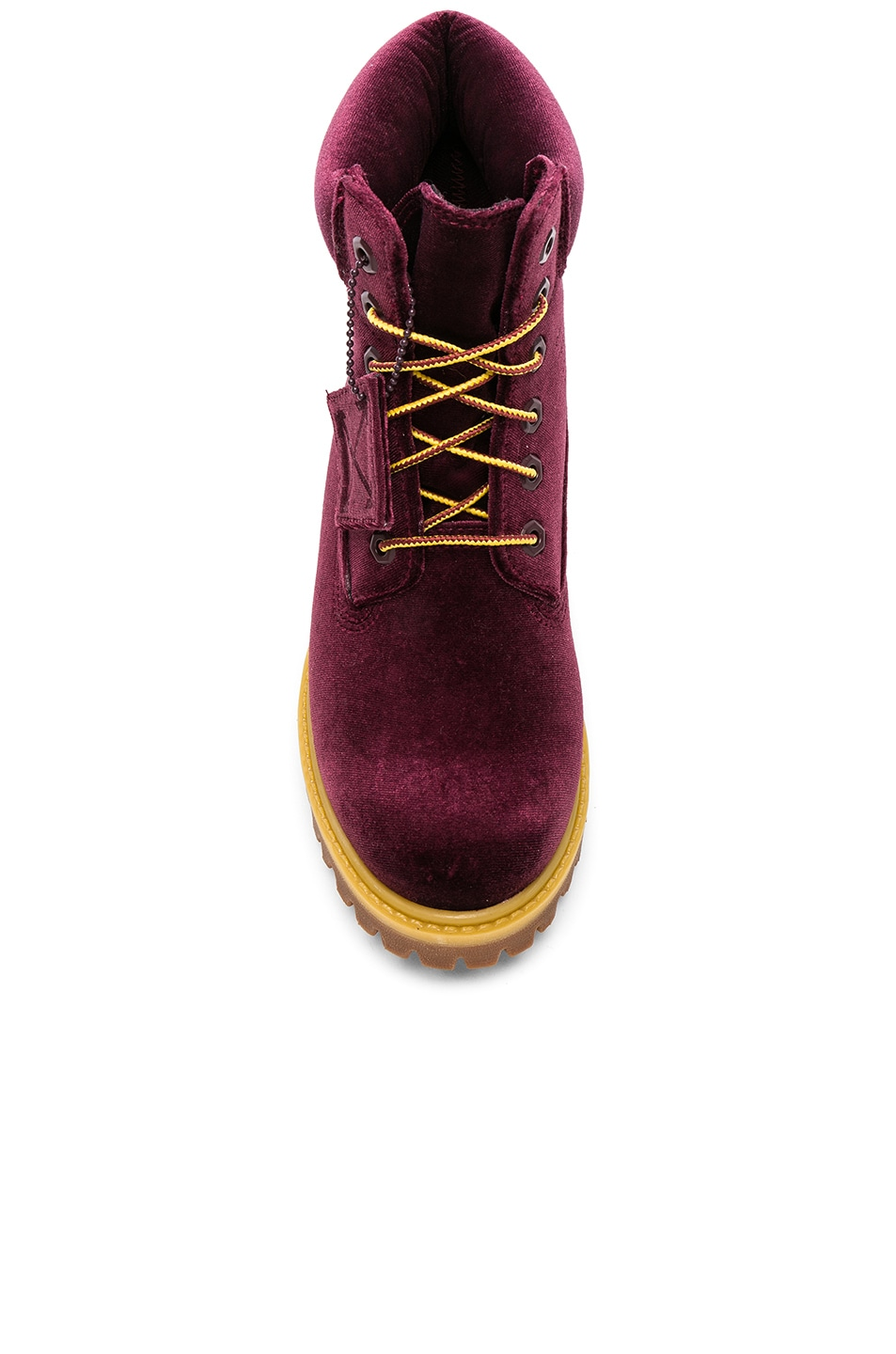 Image 4 of OFF-WHITE Timberland Velvet Hiking Boots in Bordeaux