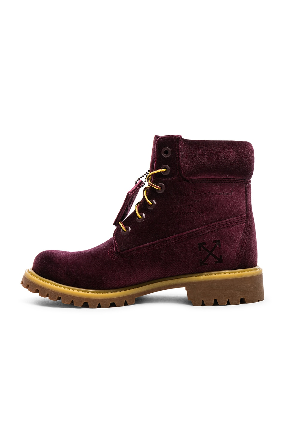 Image 5 of OFF-WHITE Timberland Velvet Hiking Boots in Bordeaux
