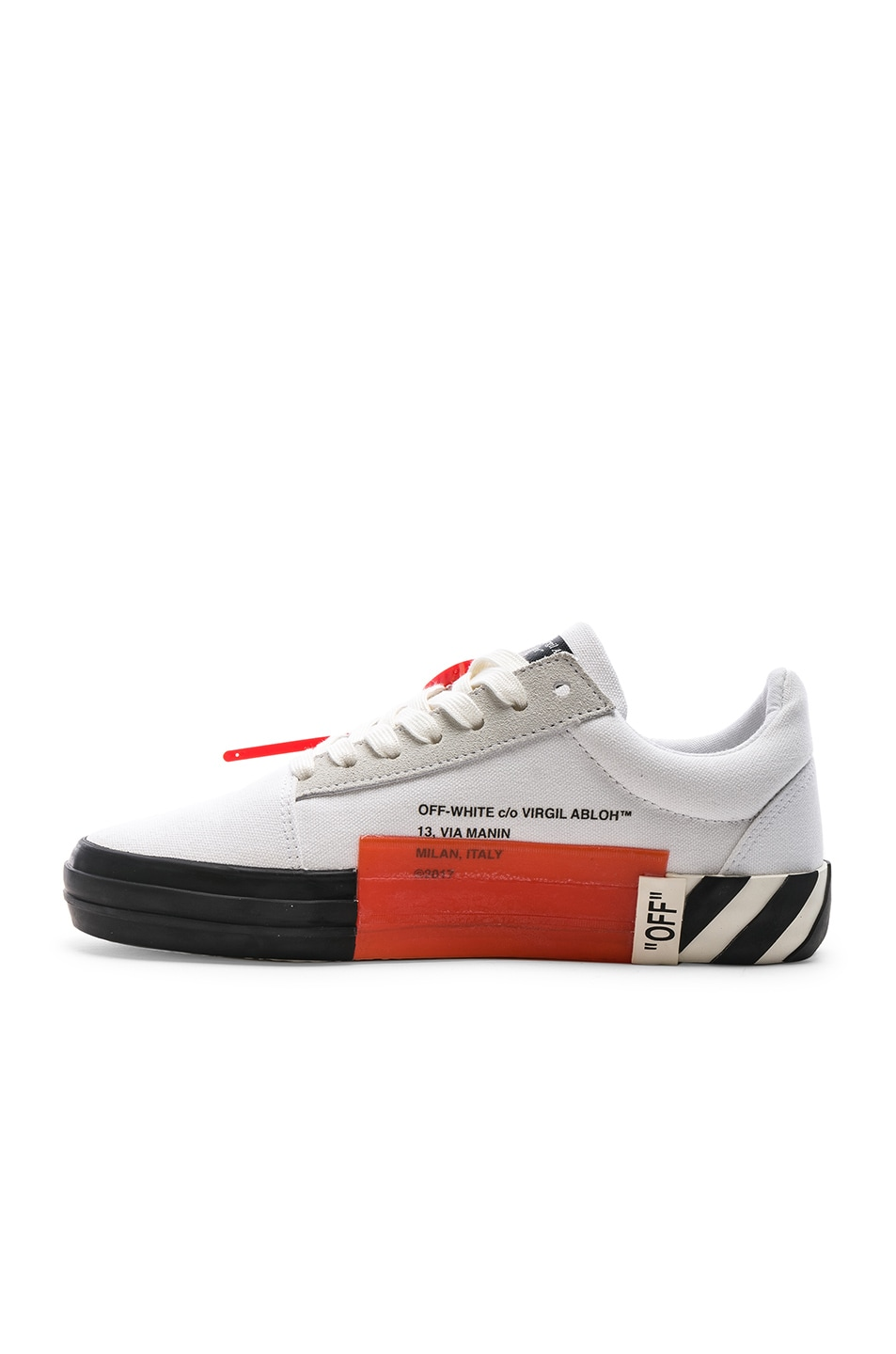 Image 5 of OFF-WHITE Striped Low Top Sneaker in White