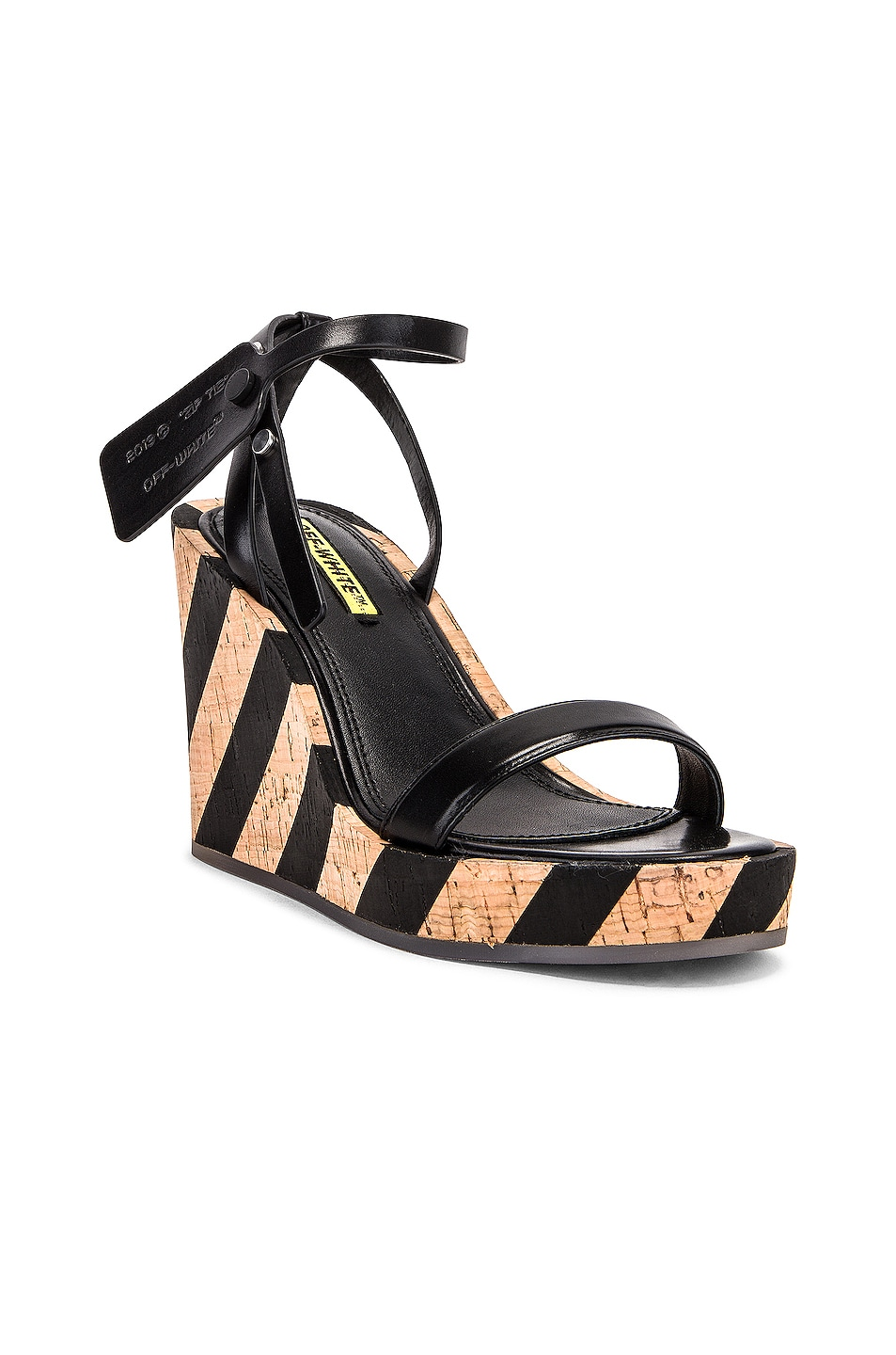 Image 2 of OFF-WHITE Striped Wedge Sandal in Black
