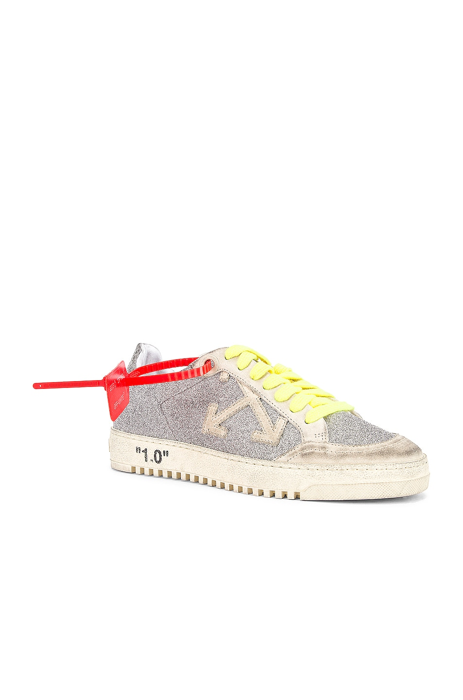 Image 2 of OFF-WHITE Glitter Arrow 2.0 Sneaker in Silver & White