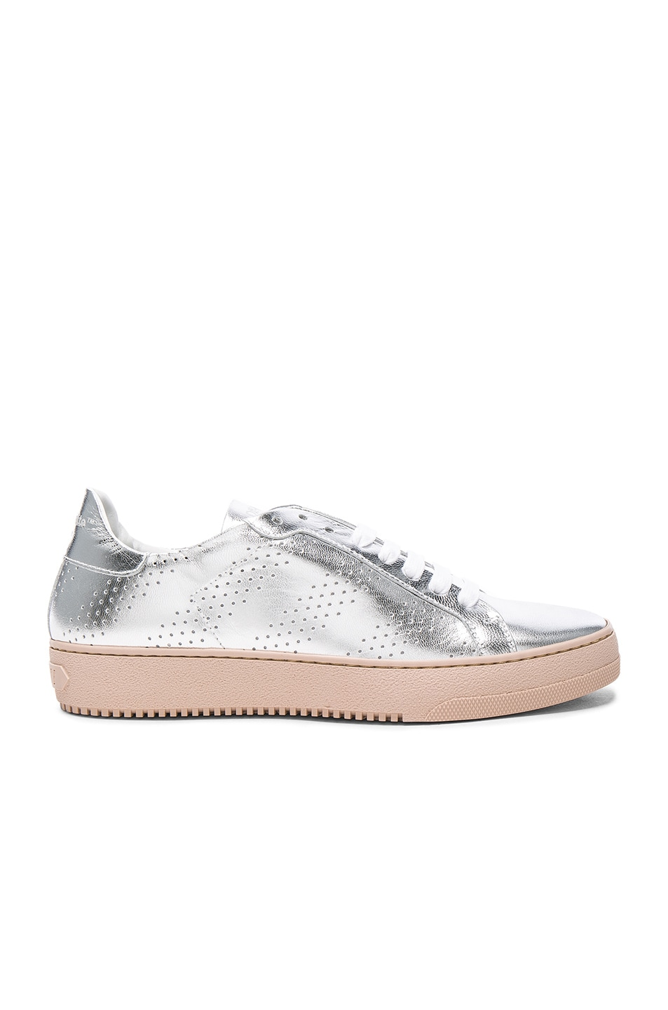Image 1 of OFF-WHITE Perforated Leather Sneakers in Silver