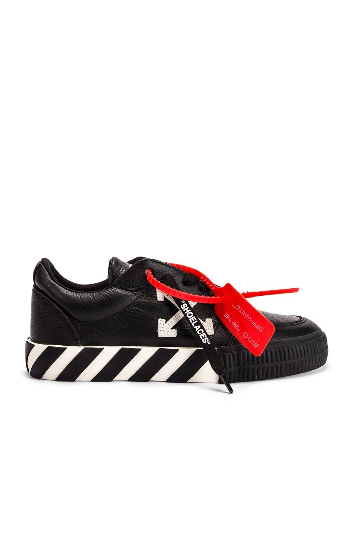 Image 1 of OFF-WHITE Arrow Low Vulcanized Sneaker in Black & White