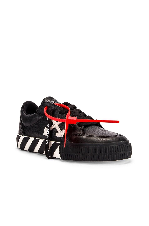 Image 2 of OFF-WHITE Arrow Low Vulcanized Sneaker in Black & White