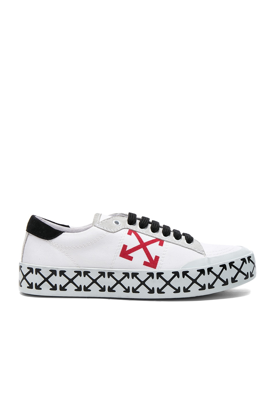 Image 1 of OFF-WHITE Vulcanized Arrow Sneakers in White & Red