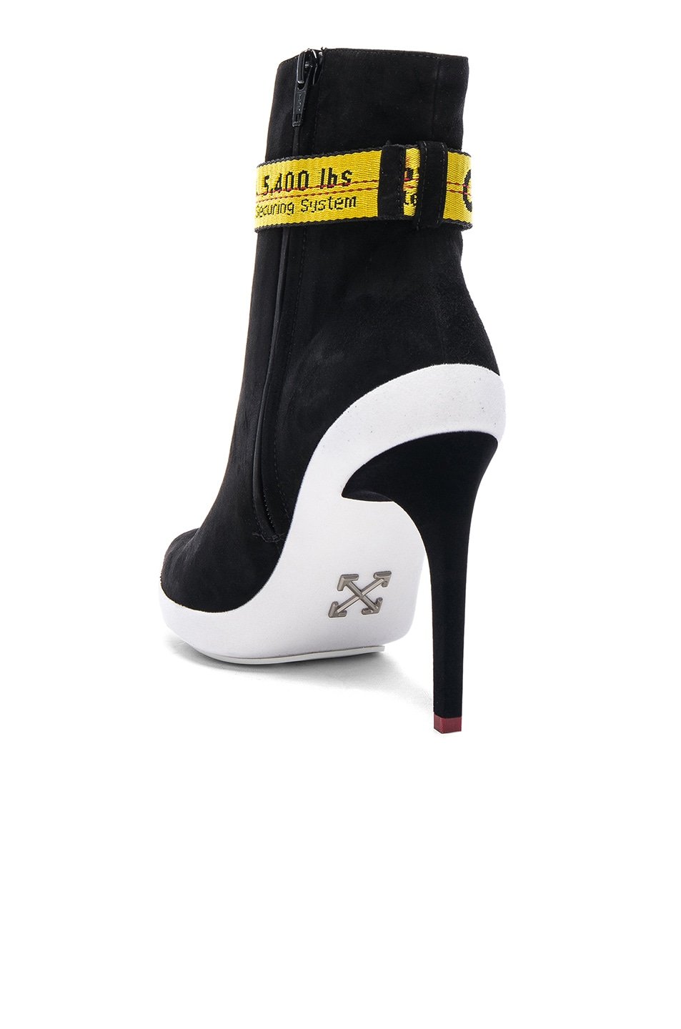 Image 3 of OFF-WHITE Ankle Strap Suede Boots in Black & Yellow