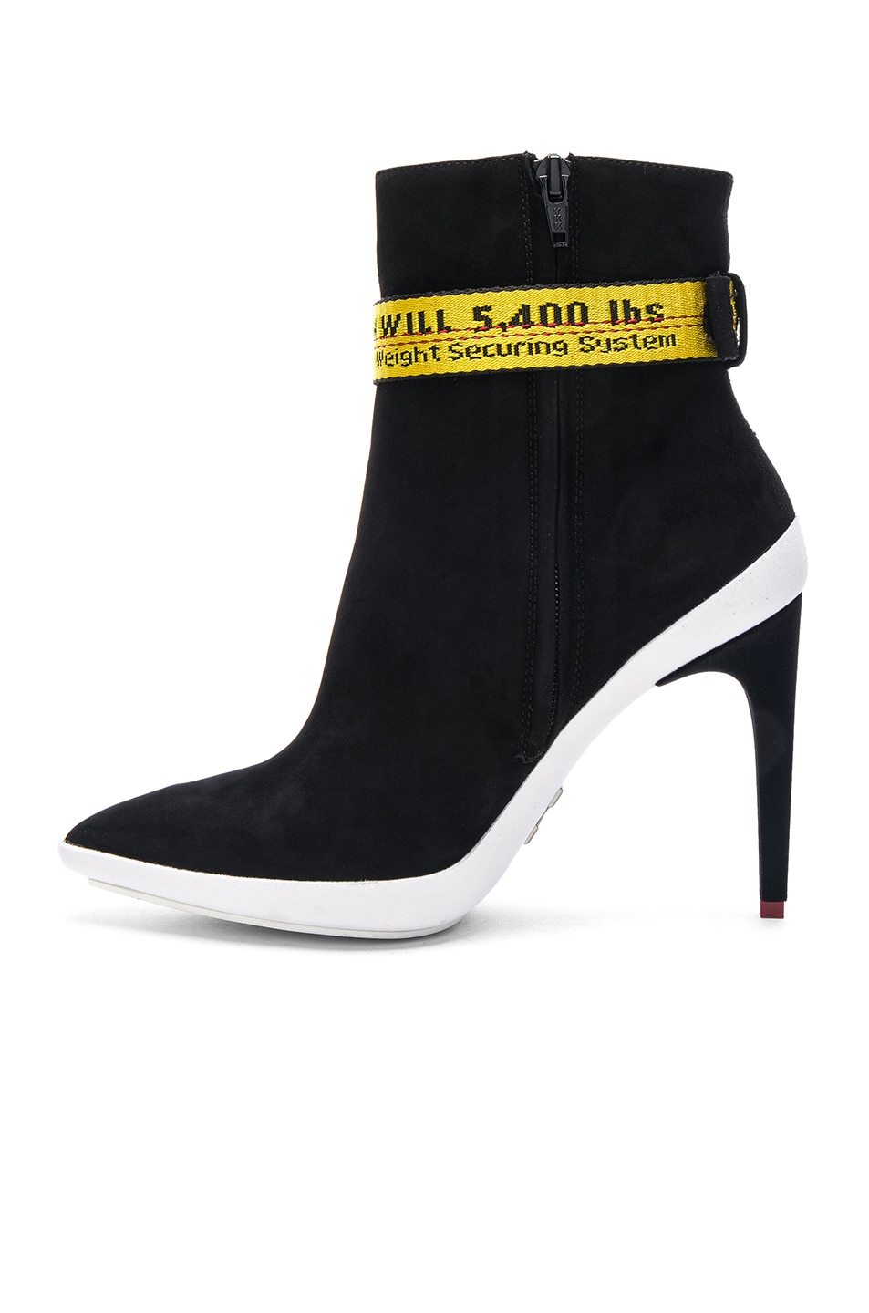 8b28314f58e Image 5 of OFF-WHITE Ankle Strap Suede Boots in Black   Yellow