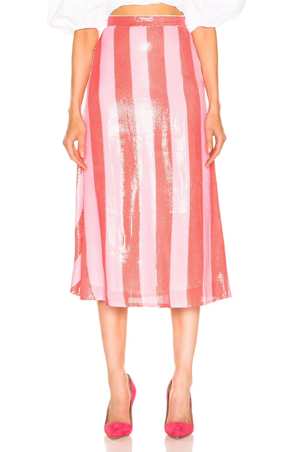 Image 1 of Olivia Rubin Penelope Skirt in Red & Pink
