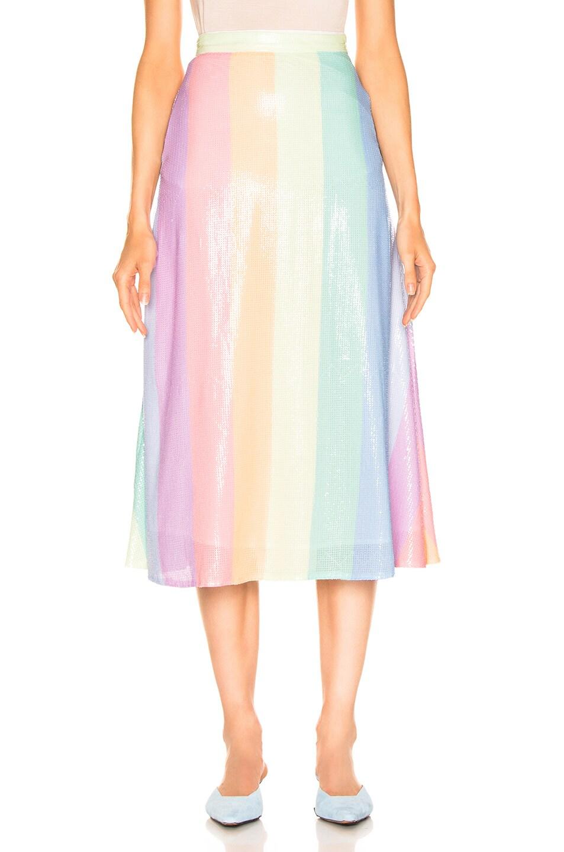 Image 1 of Olivia Rubin for FWRD Penelope Skirt in Pastel Rainbow