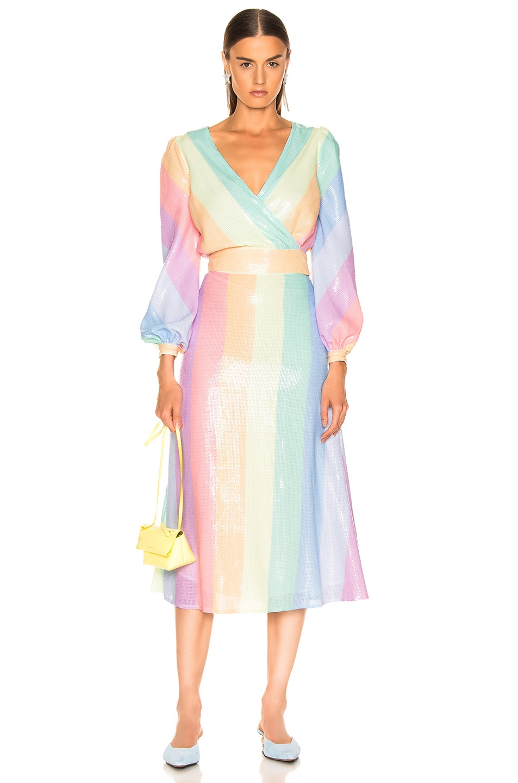 Image 4 of Olivia Rubin for FWRD Penelope Skirt in Pastel Rainbow