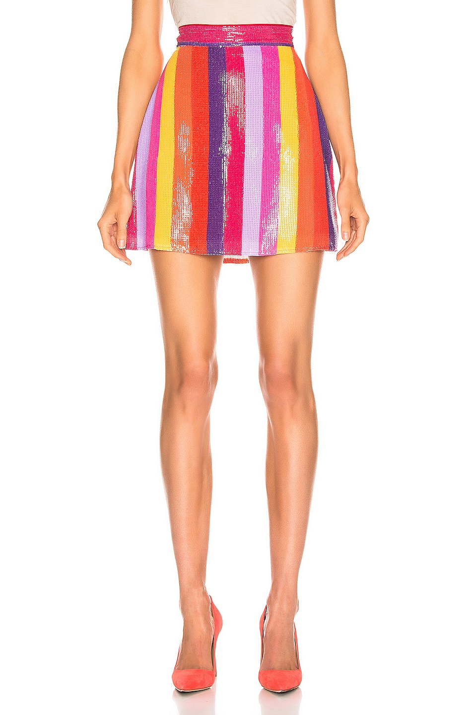 Image 1 of Olivia Rubin Libby Skirt in Rainbow Stripe