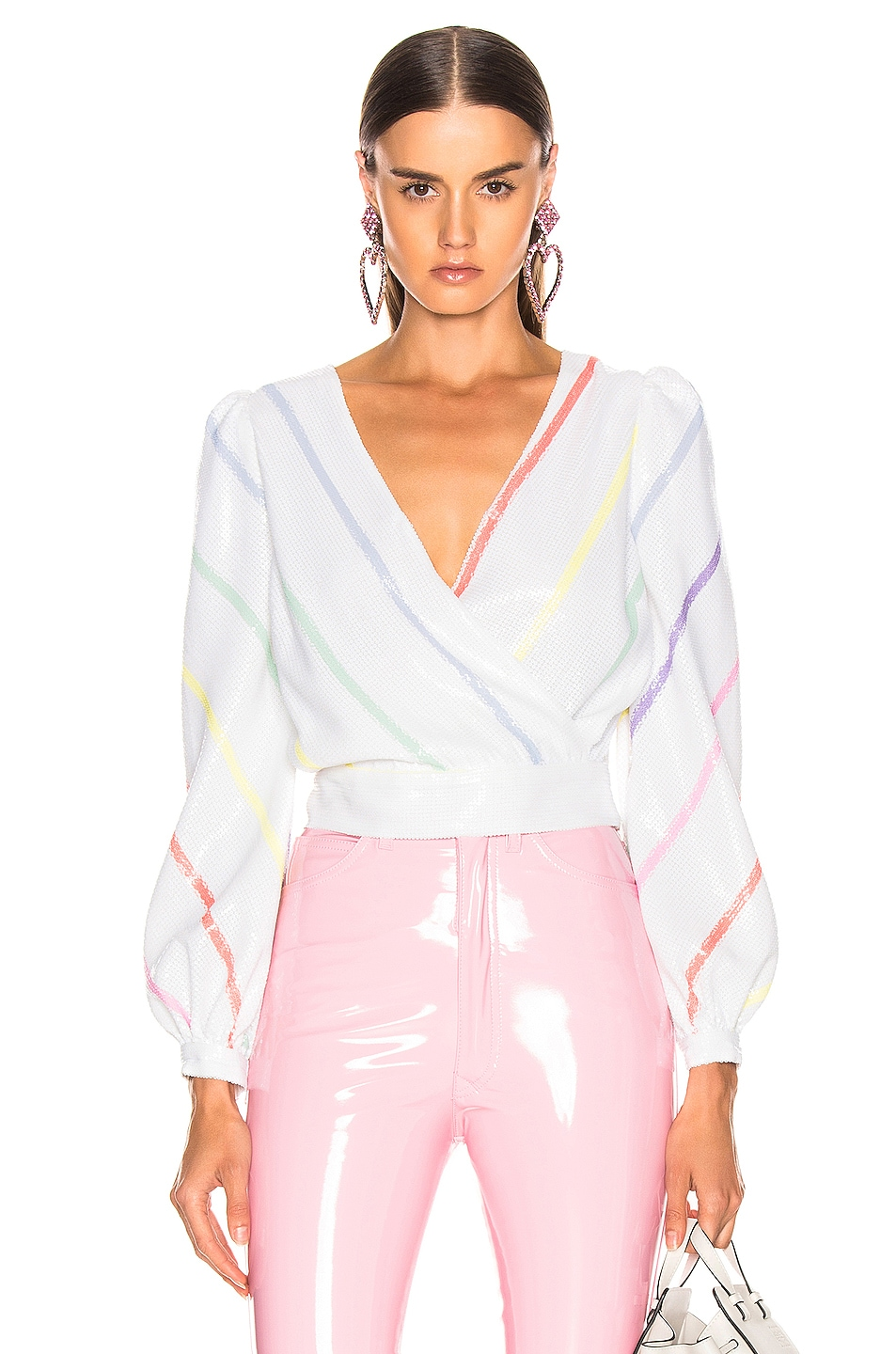 Image 1 of Olivia Rubin Kendall Top in Thin White Stripe