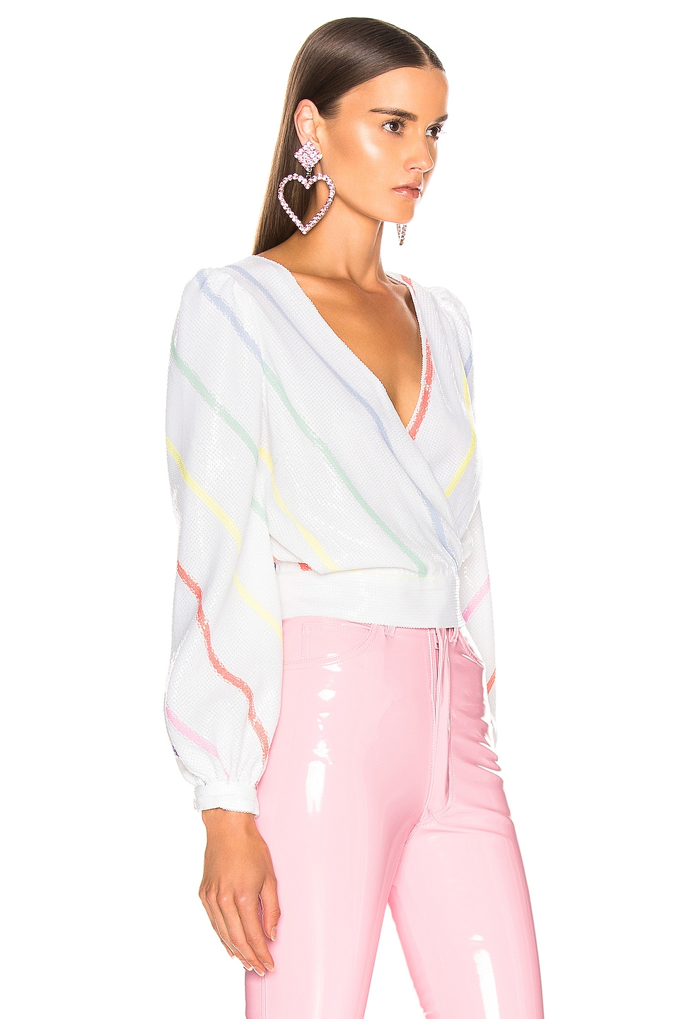 Image 2 of Olivia Rubin Kendall Top in Thin White Stripe