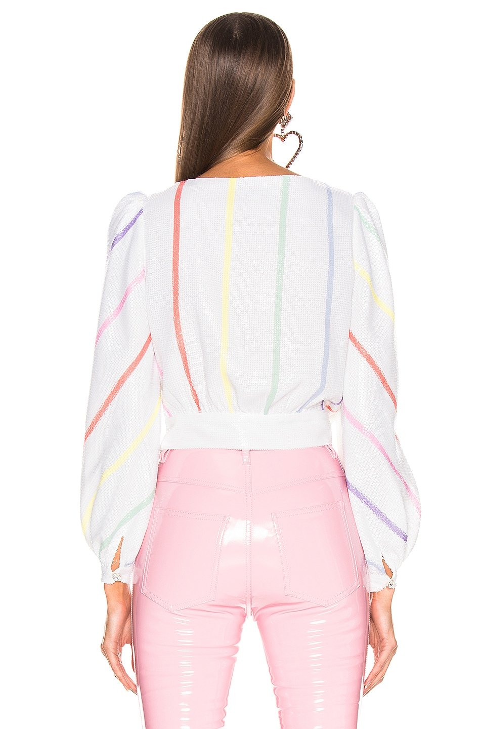 Image 3 of Olivia Rubin Kendall Top in Thin White Stripe
