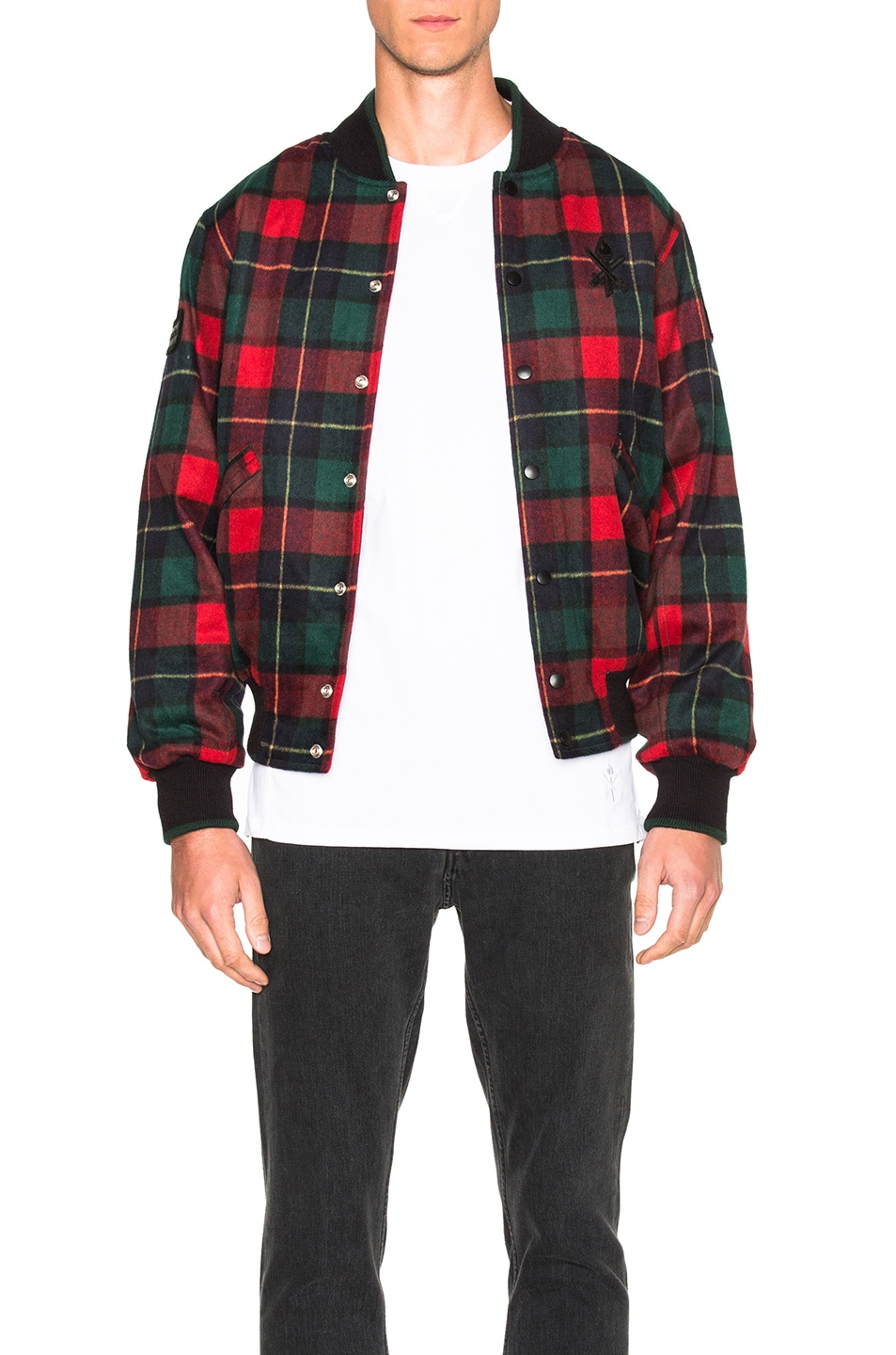 f78e5510d76f Image 1 of Opening Ceremony Plaid Varsity Jacket in Red Multi