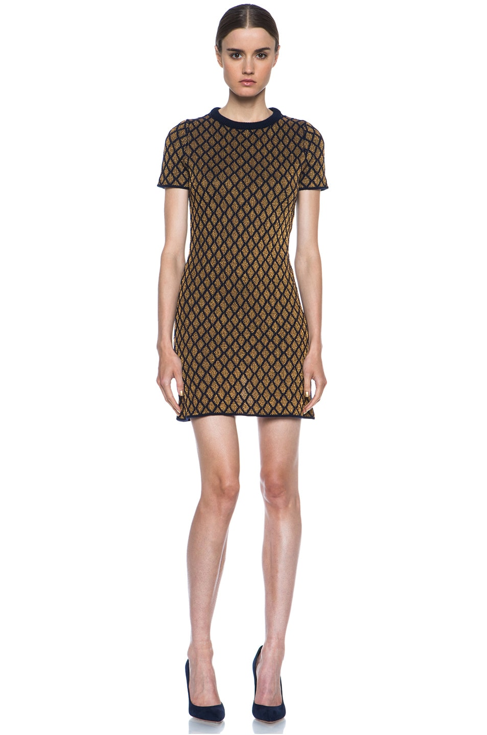 Image 1 of Opening Ceremony Stardust Merino Wool-Blend Shift Dress in Navy & Copper