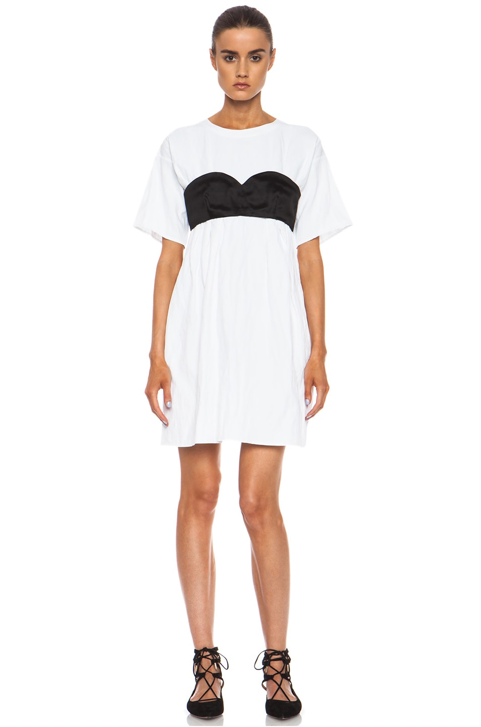 Image 1 of Opening Ceremony Kani Cotton T-Shirt Bustier Dress in White