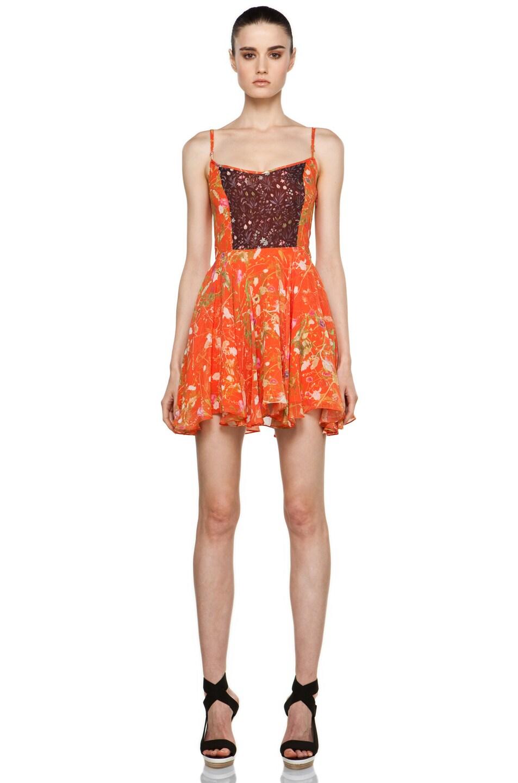 Image 1 of Opening Ceremony Bias Hem Mini Dress in Black Multi Garden/Orange