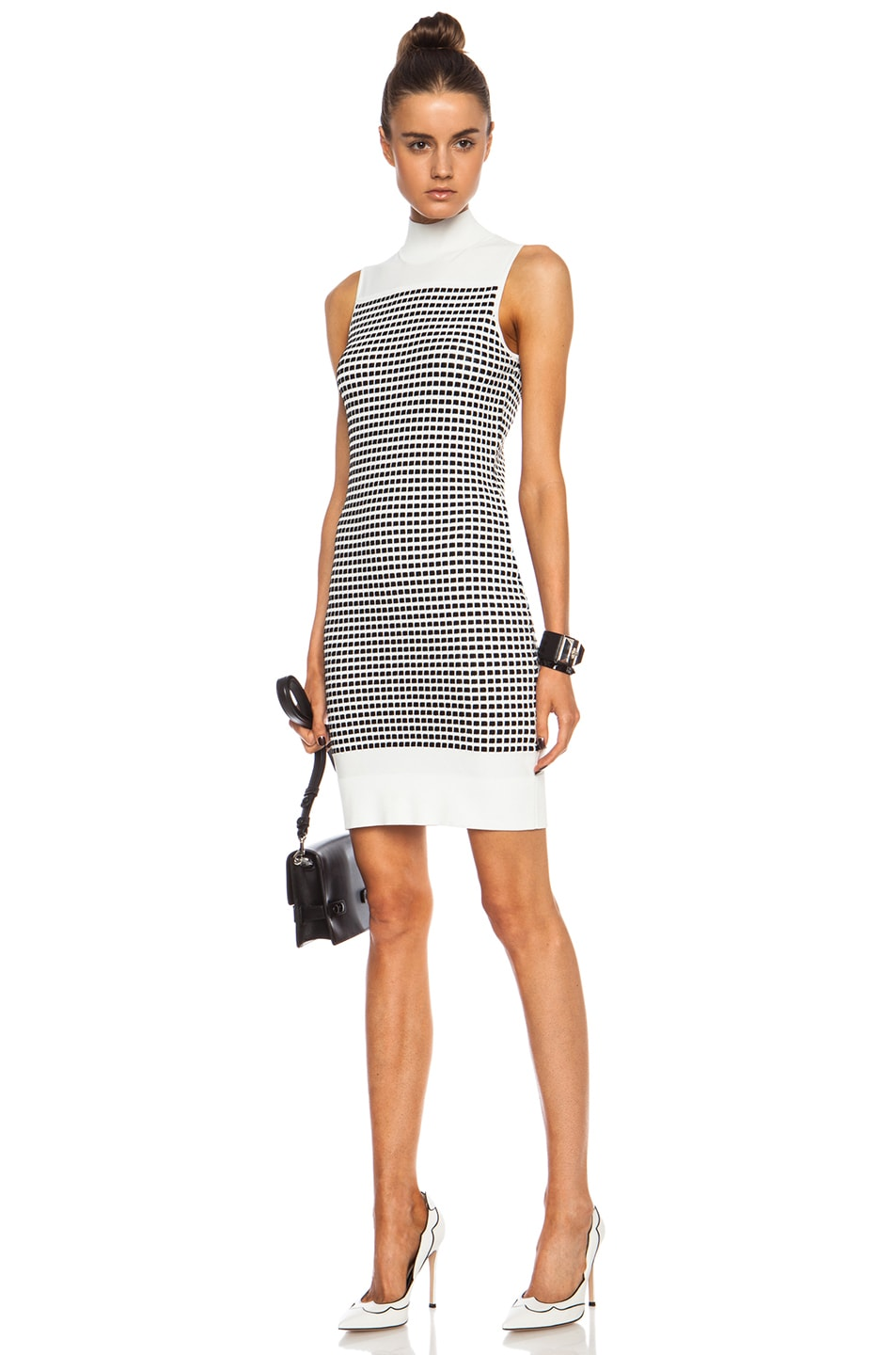 Image 1 of Opening Ceremony Small Inbox Turtleneck Viscose-Blend Dress in White Multi