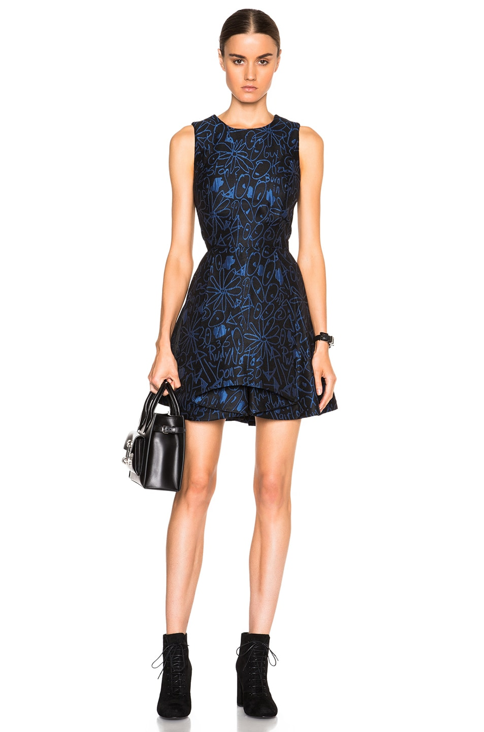 Image 1 of Opening Ceremony Scribbles Jacquard Cascade Dress in Classic Blue Multi