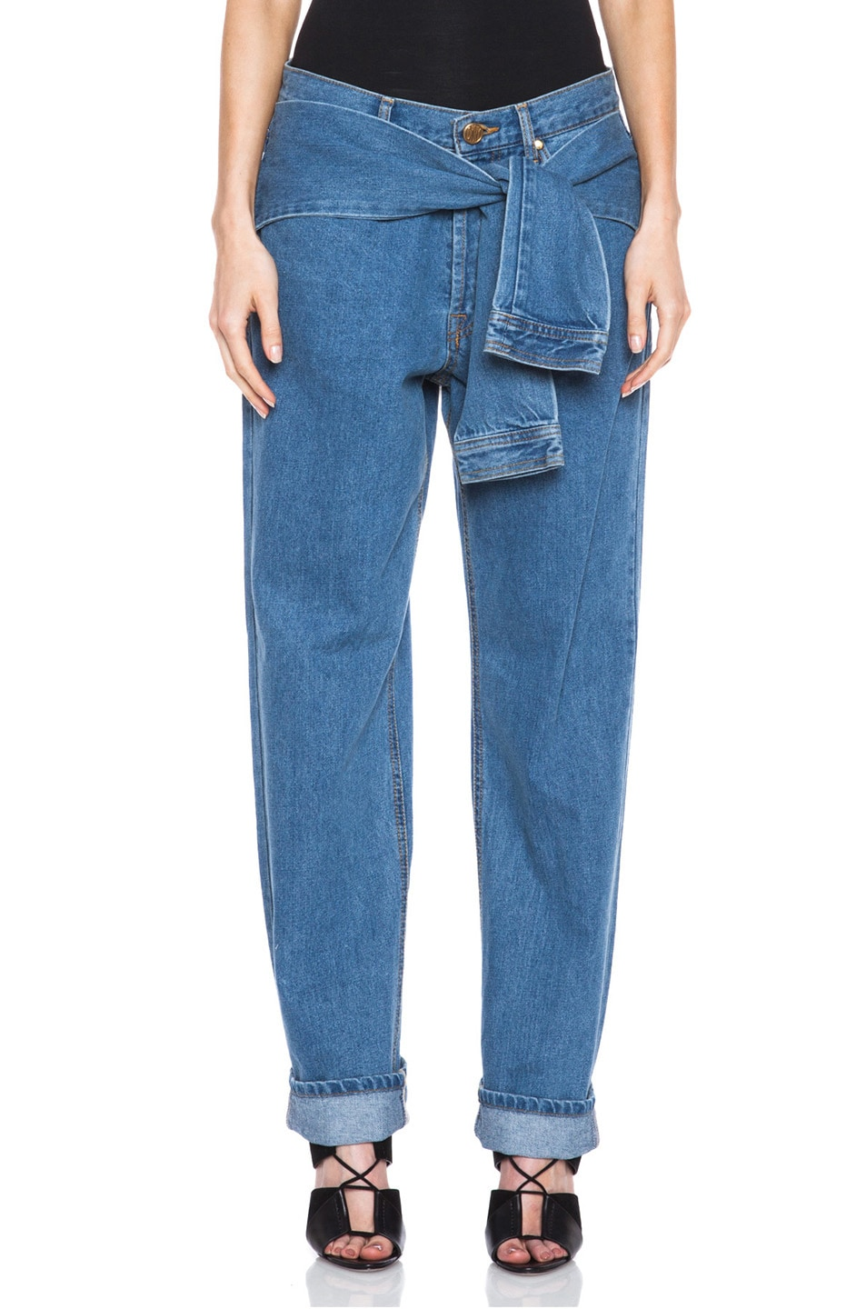 Image 1 of Opening Ceremony x DKNY Faux Wrap Jean in Denim