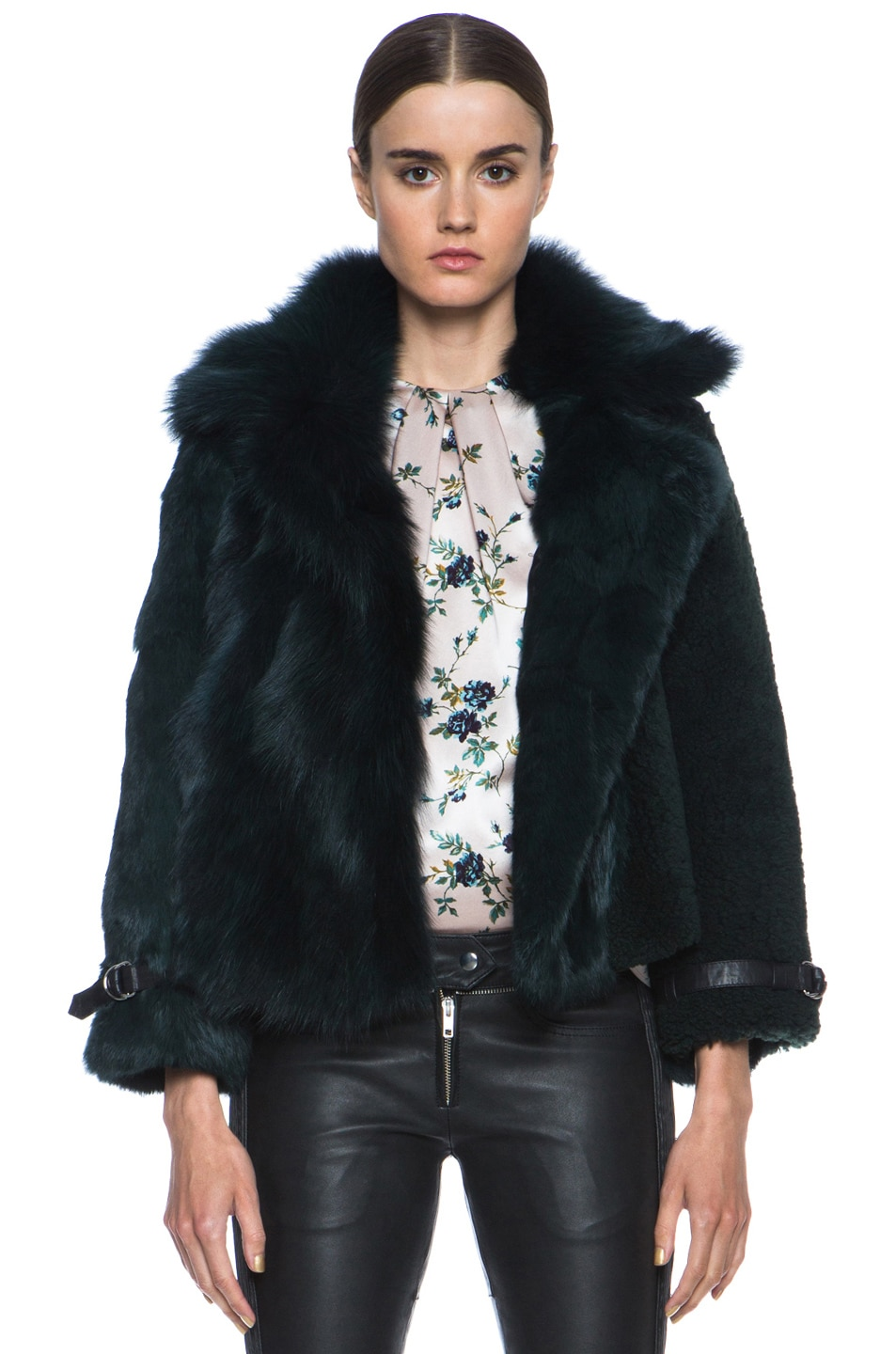 Image 1 of Opening Ceremony Nadia Patchwork Fur Jacket in Hunter