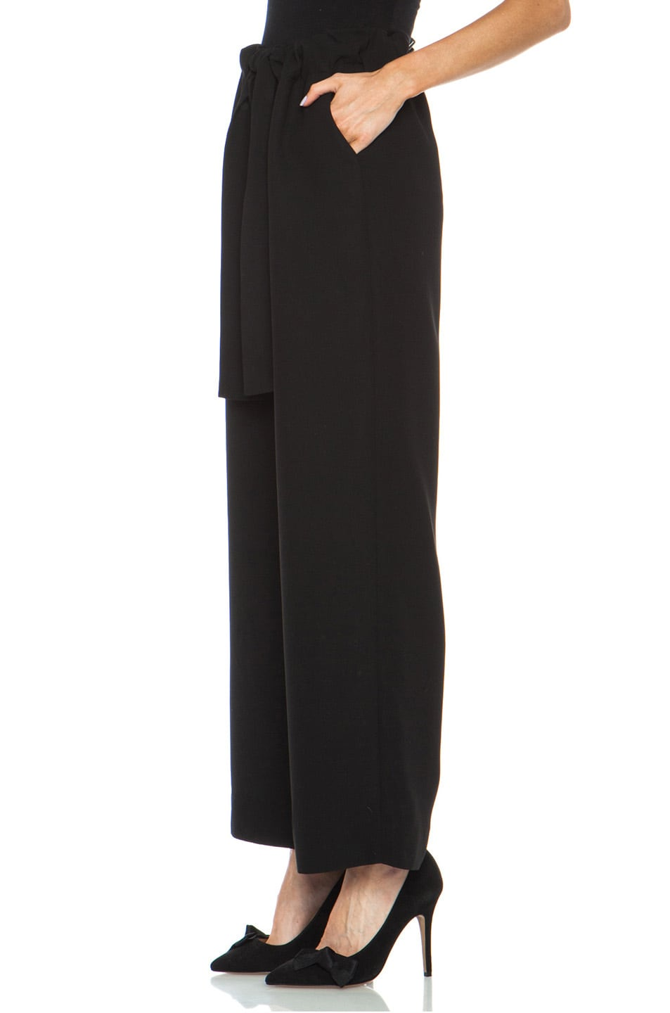 Opening Ceremony Celia Crepe Pleated Pant in Black