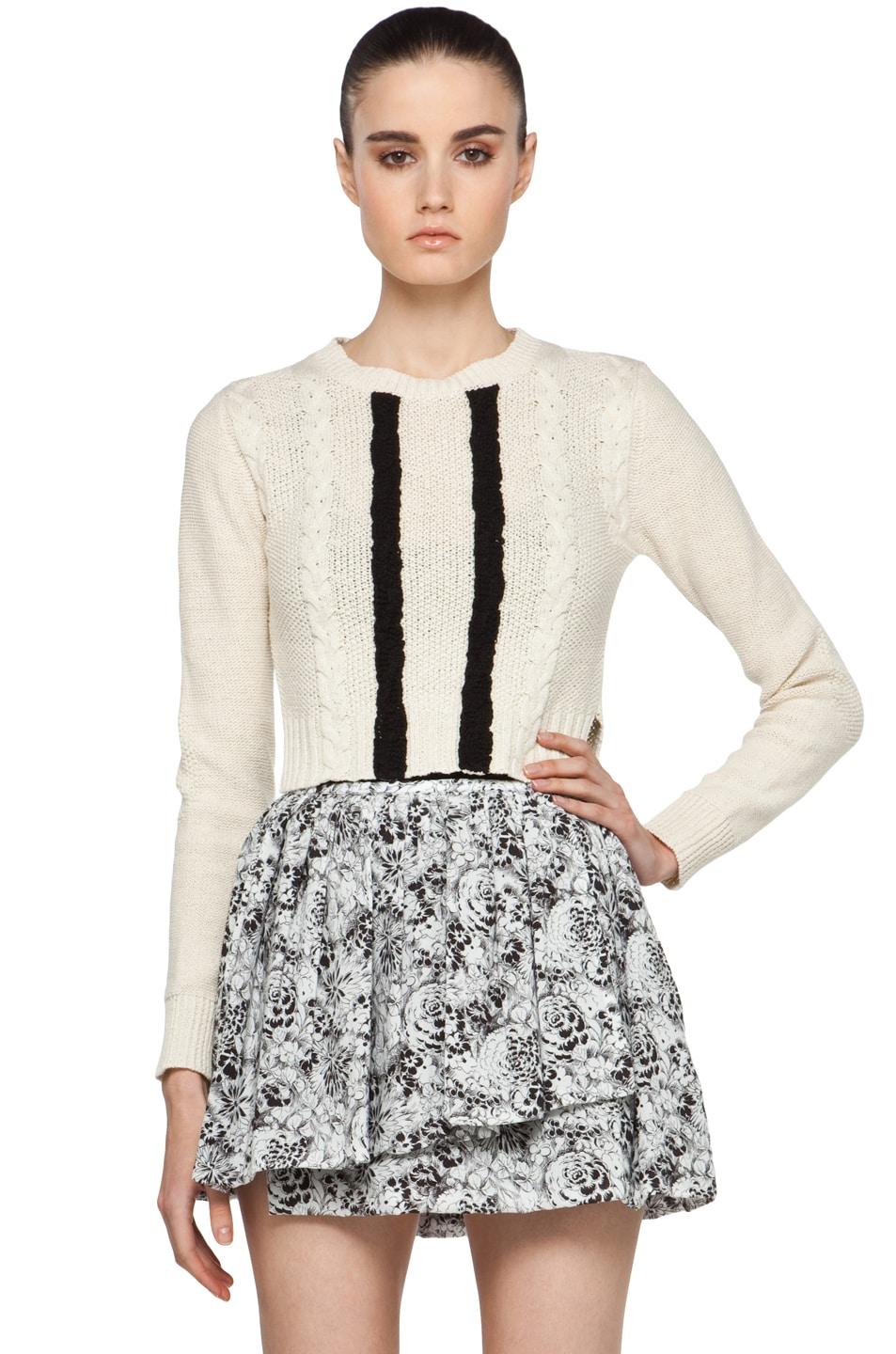 Image 1 of Opening Ceremony Cable Pullover in Ivory