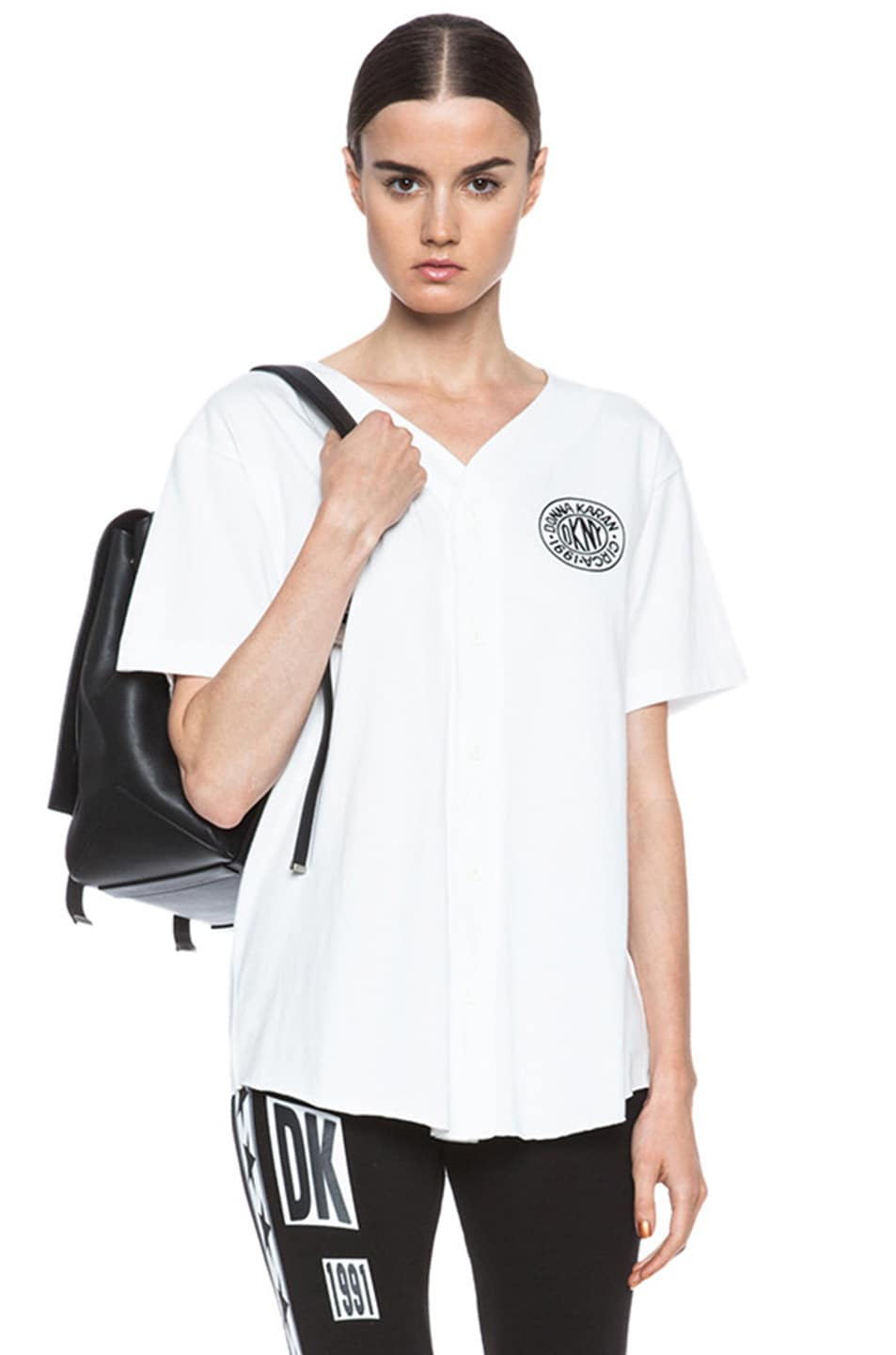 Image 1 of Opening Ceremony x DKNY Baseball Cotton Tee with Token Logo in White