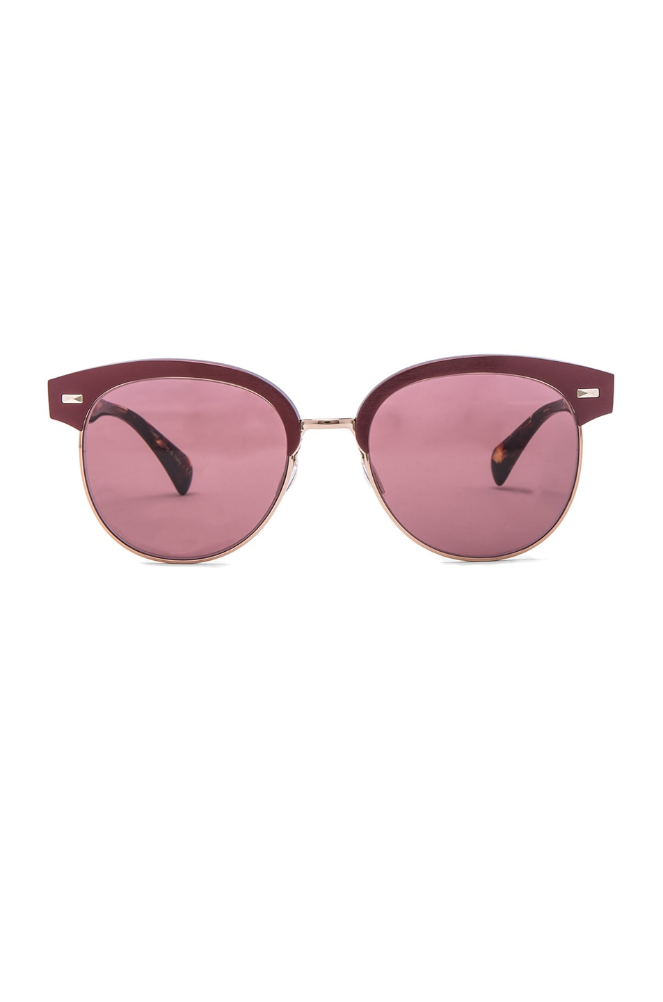 Image 1 of Oliver Peoples Shaelie Sunglasses in Burgundy & Brushed Rose Gold