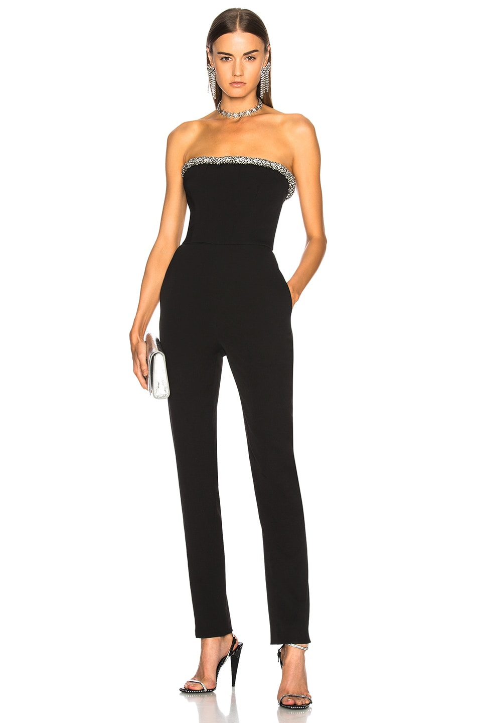 Image 1 of Oscar de la Renta Crystal Trim Strapless Jumpsuit in Black
