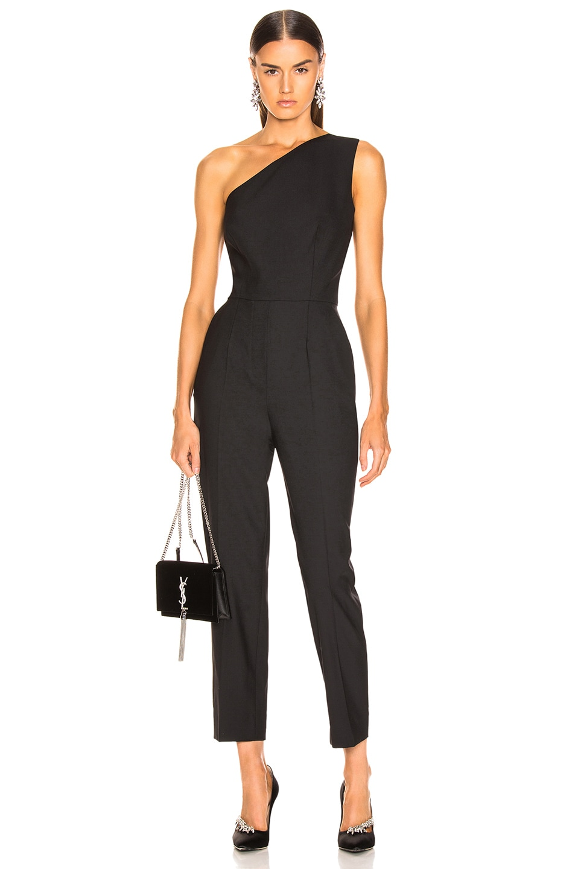 Image 1 of Oscar de la Renta One Shoulder Jumpsuit in Black