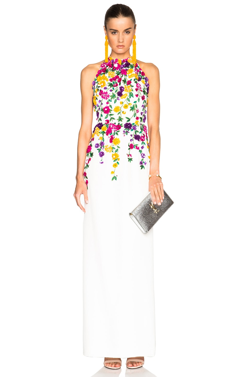 Image 1 of Oscar de la Renta Floral Embroidery Gown in White Multi