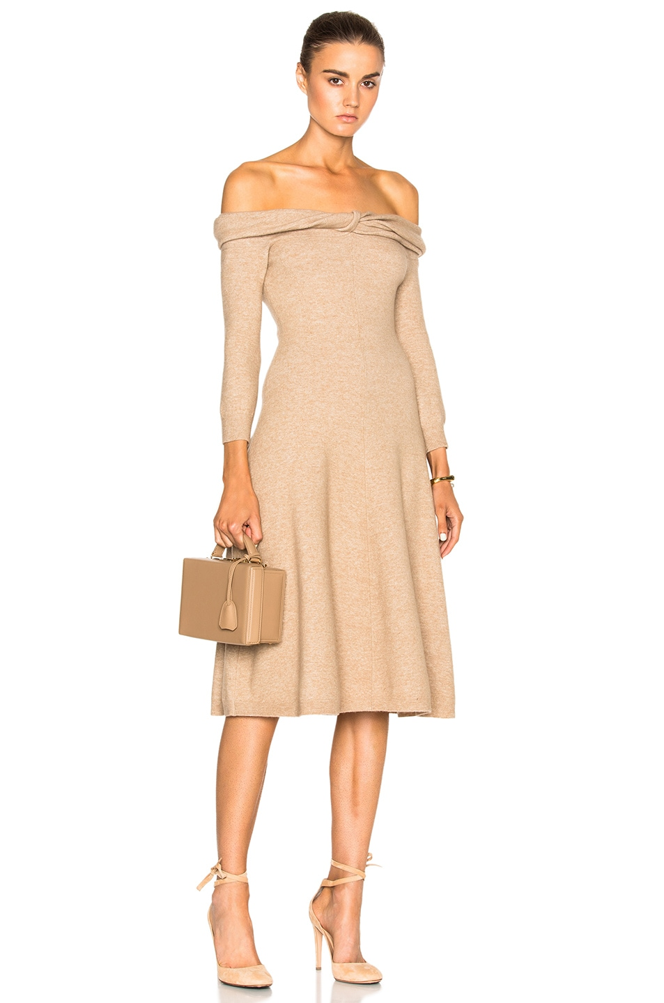 Image 1 of Oscar de la Renta Bateau Twist Neck Dress in Camel Chine