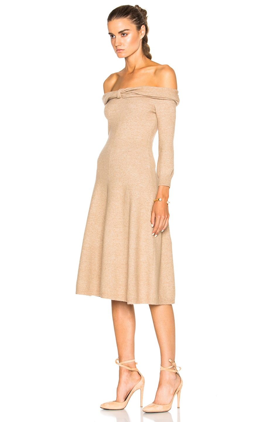 Image 2 of Oscar de la Renta Bateau Twist Neck Dress in Camel Chine