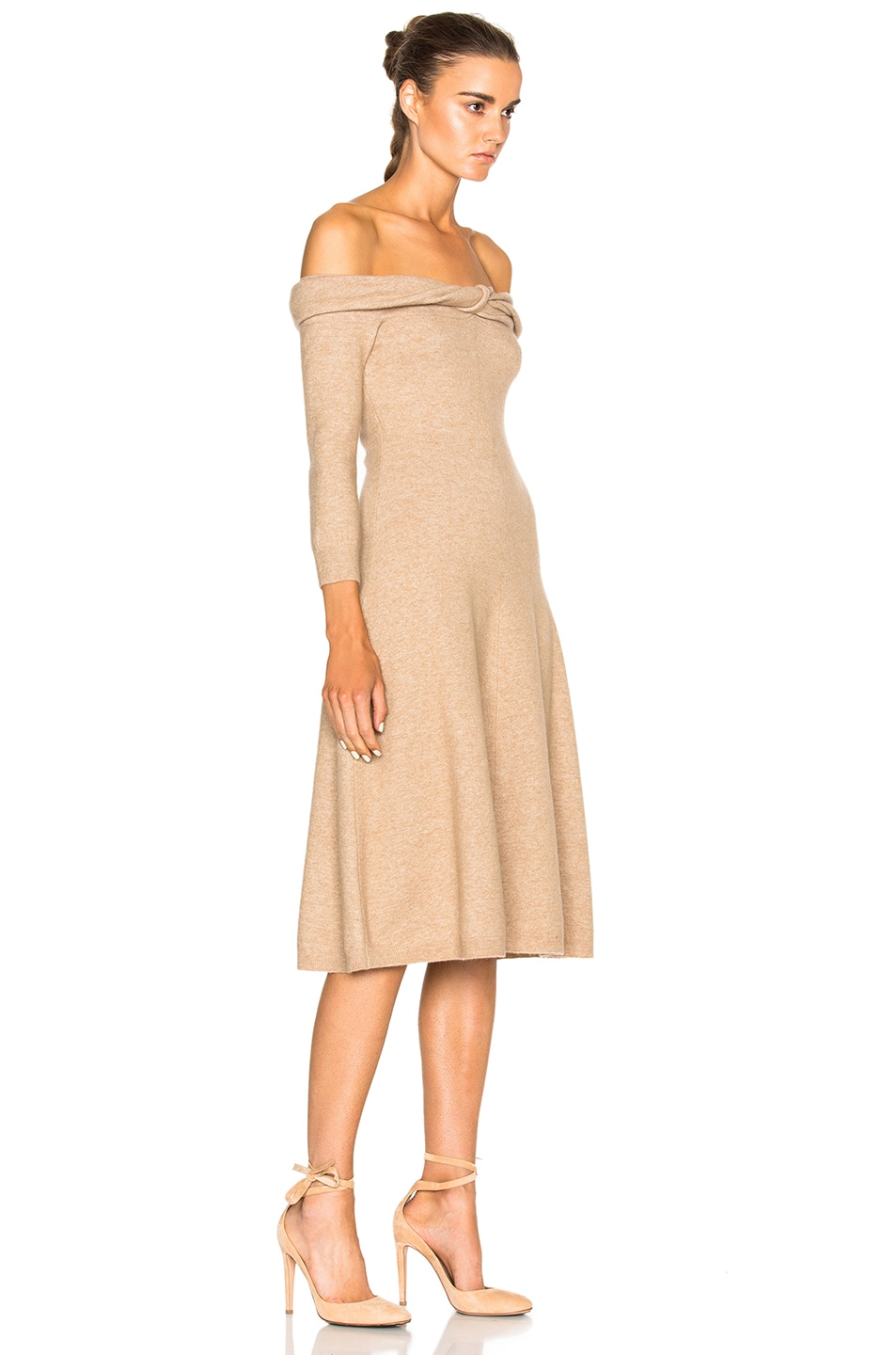 Image 3 of Oscar de la Renta Bateau Twist Neck Dress in Camel Chine