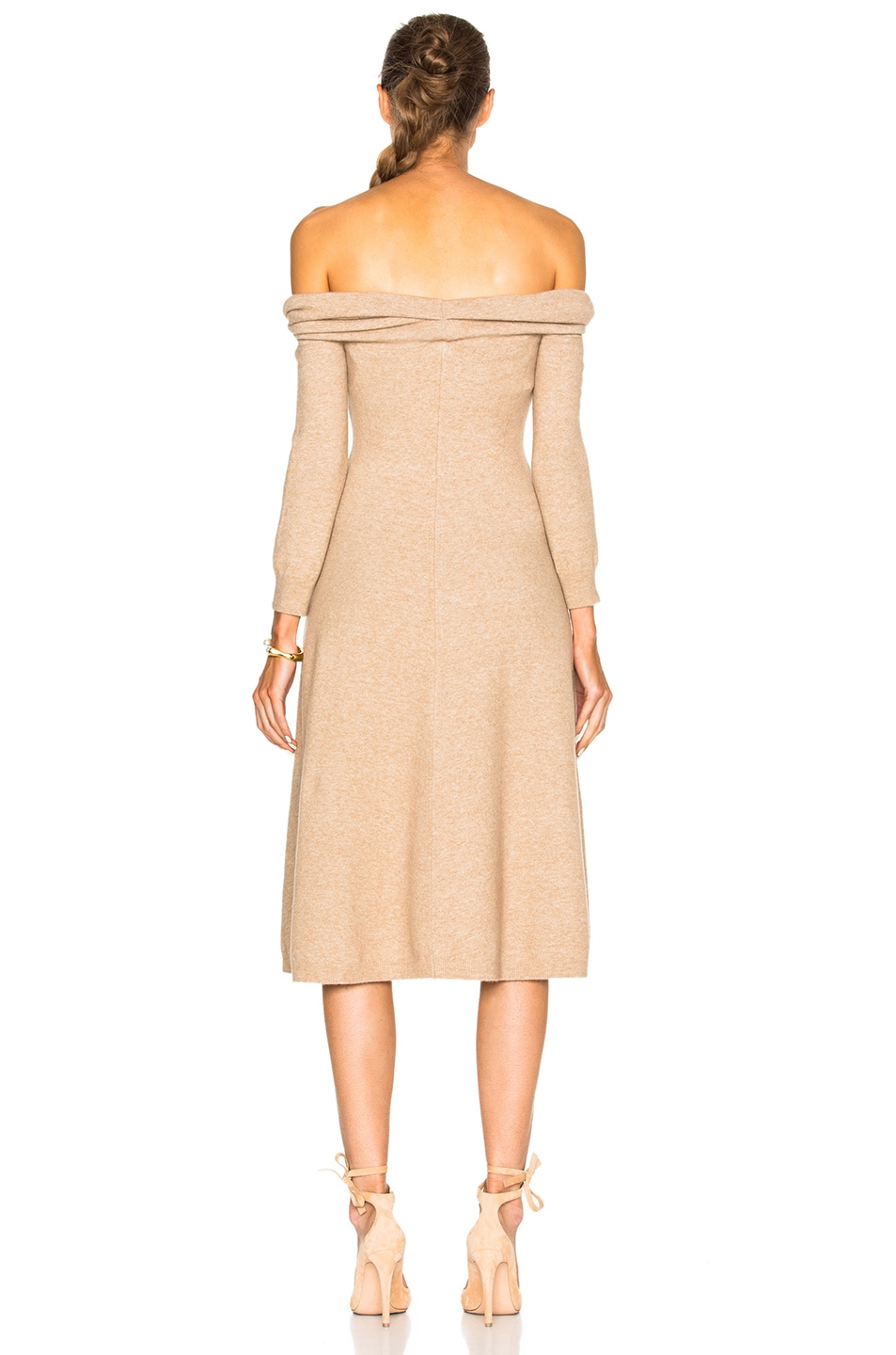 Image 4 of Oscar de la Renta Bateau Twist Neck Dress in Camel Chine