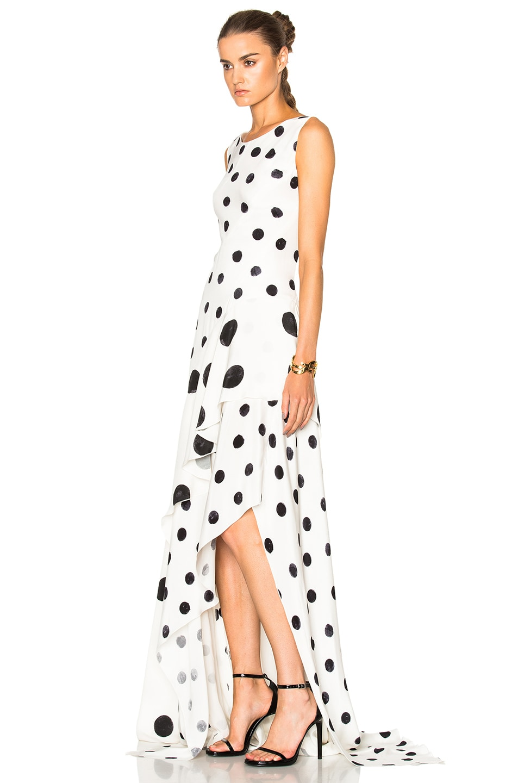 Image 2 Of Oscar De La A Polka Dot Dress In Ivory Black