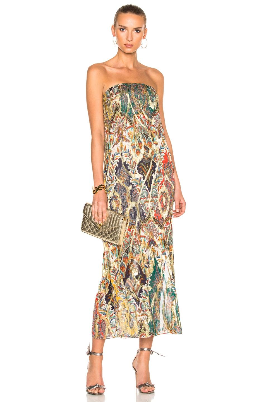 Image 1 of Oscar de la Renta Strapless Gown in Navy Multicolor